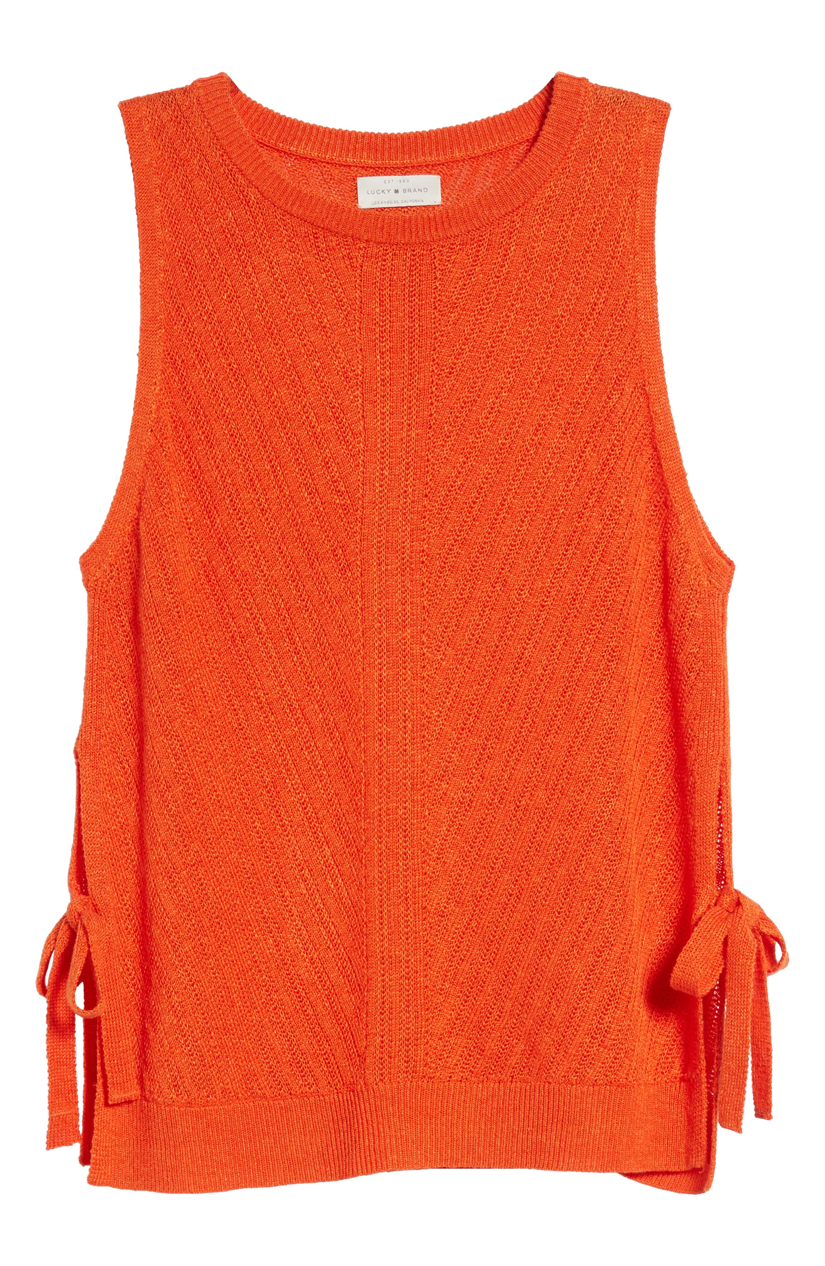 Side Tie Tank Sweater,                             Alternate thumbnail 7, color,                             Red Clay