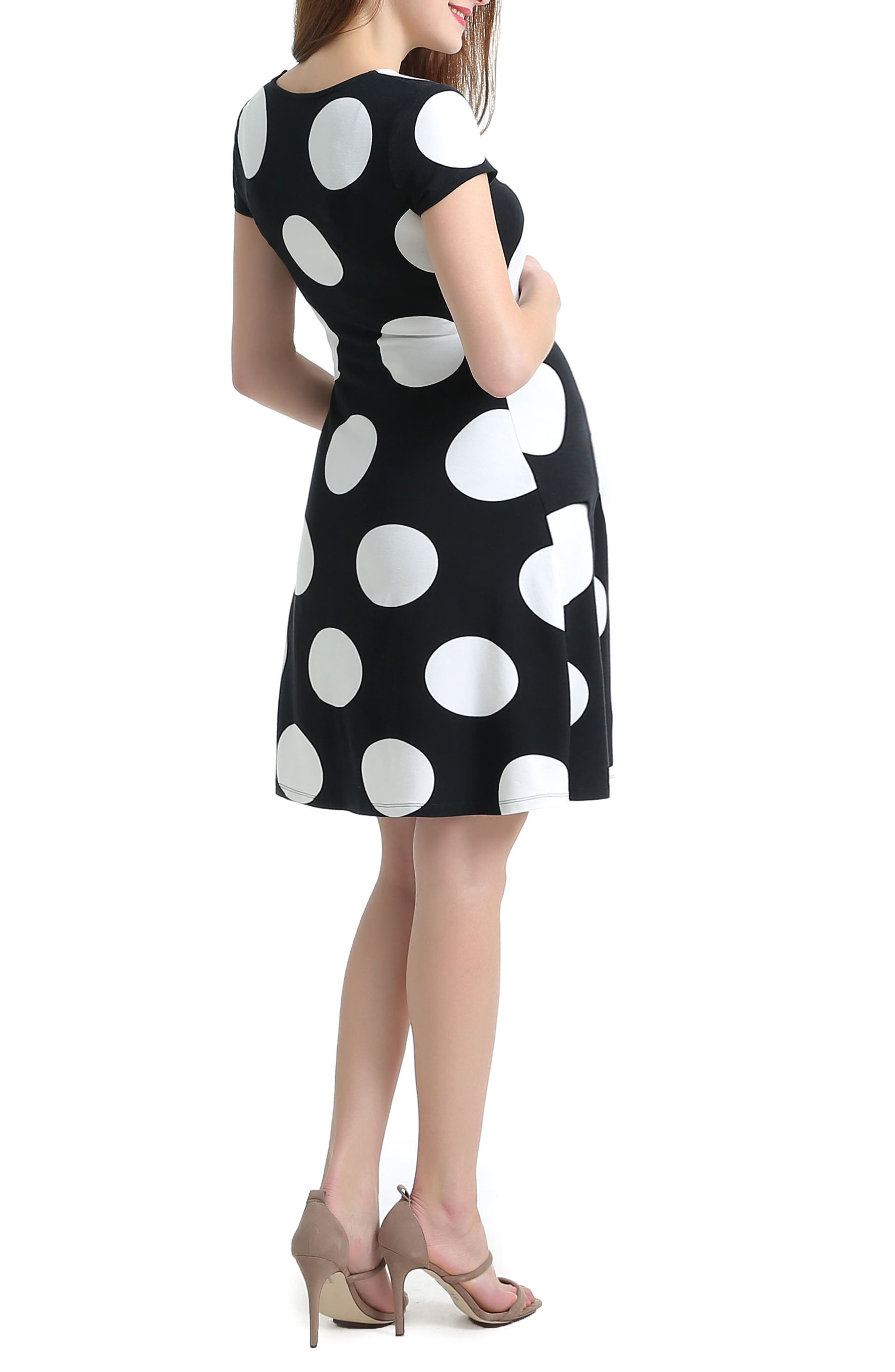 Joslyn Polka Dot A-Line Maternity Dress,                             Alternate thumbnail 2, color,                             Black/ White