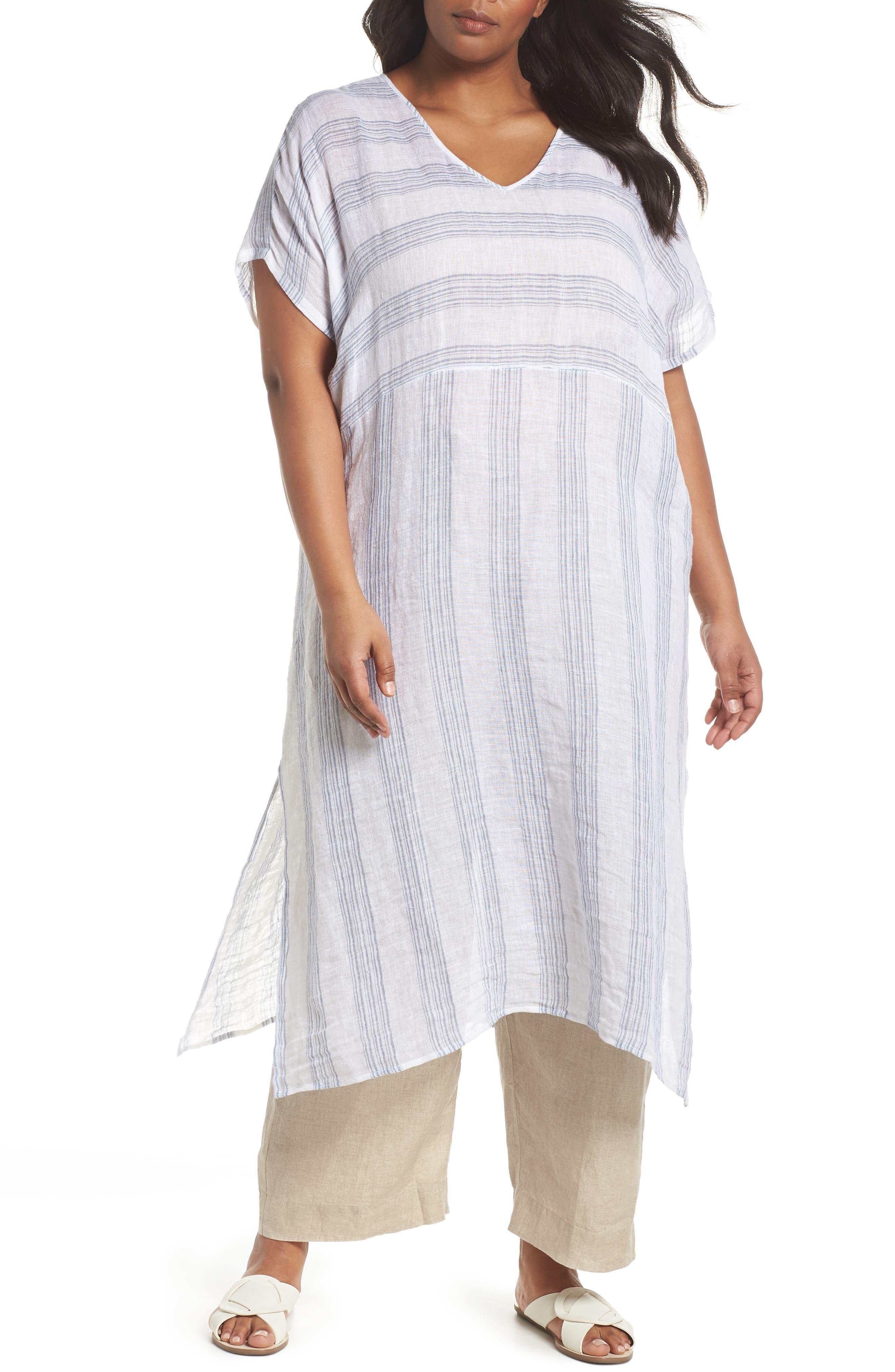 Eileen Fisher Stripe Organic Linen Shift Dress (Plus Size)