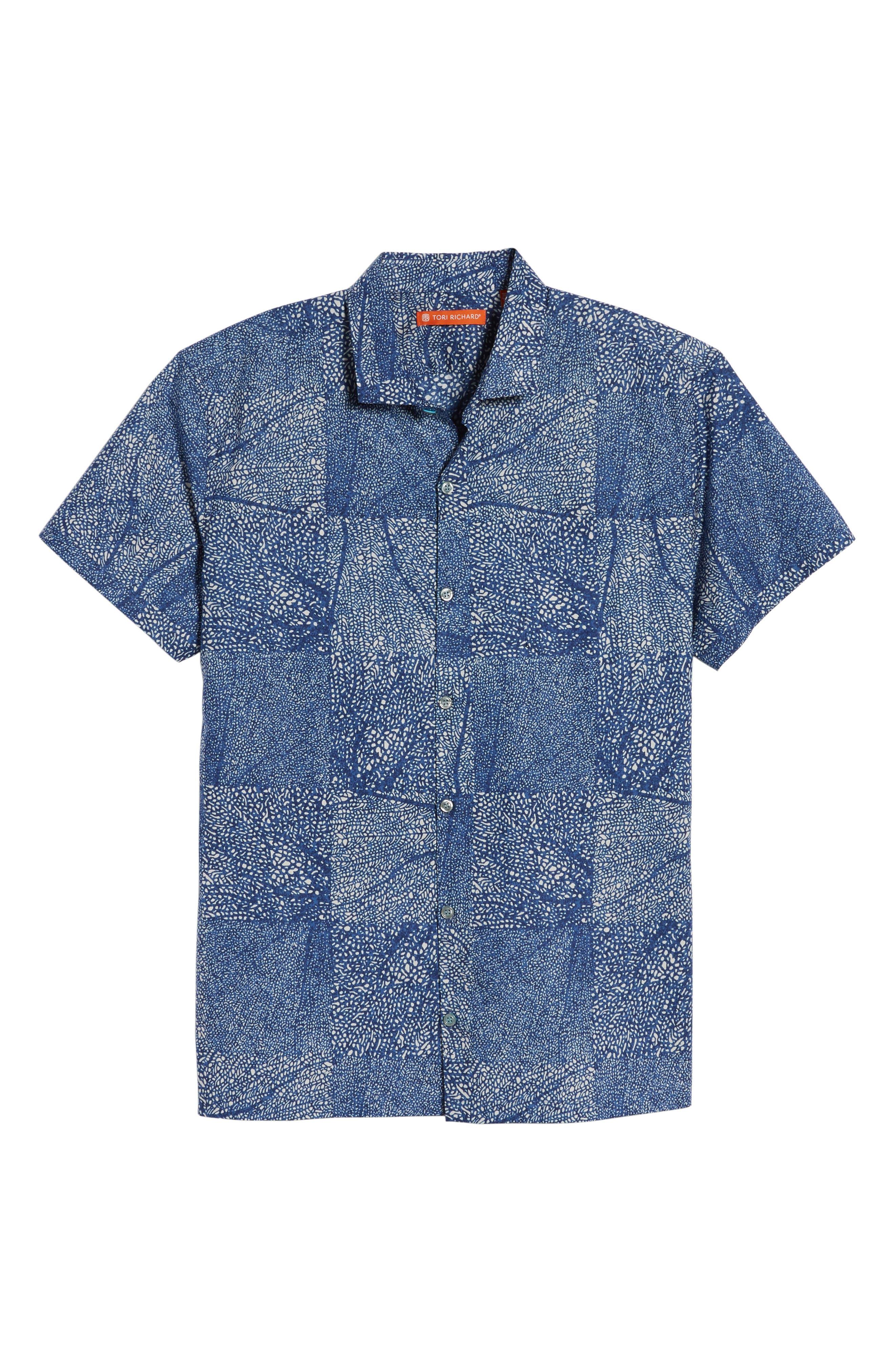 Black Coral Trim Fit Camp Shirt,                             Alternate thumbnail 6, color,                             Navy
