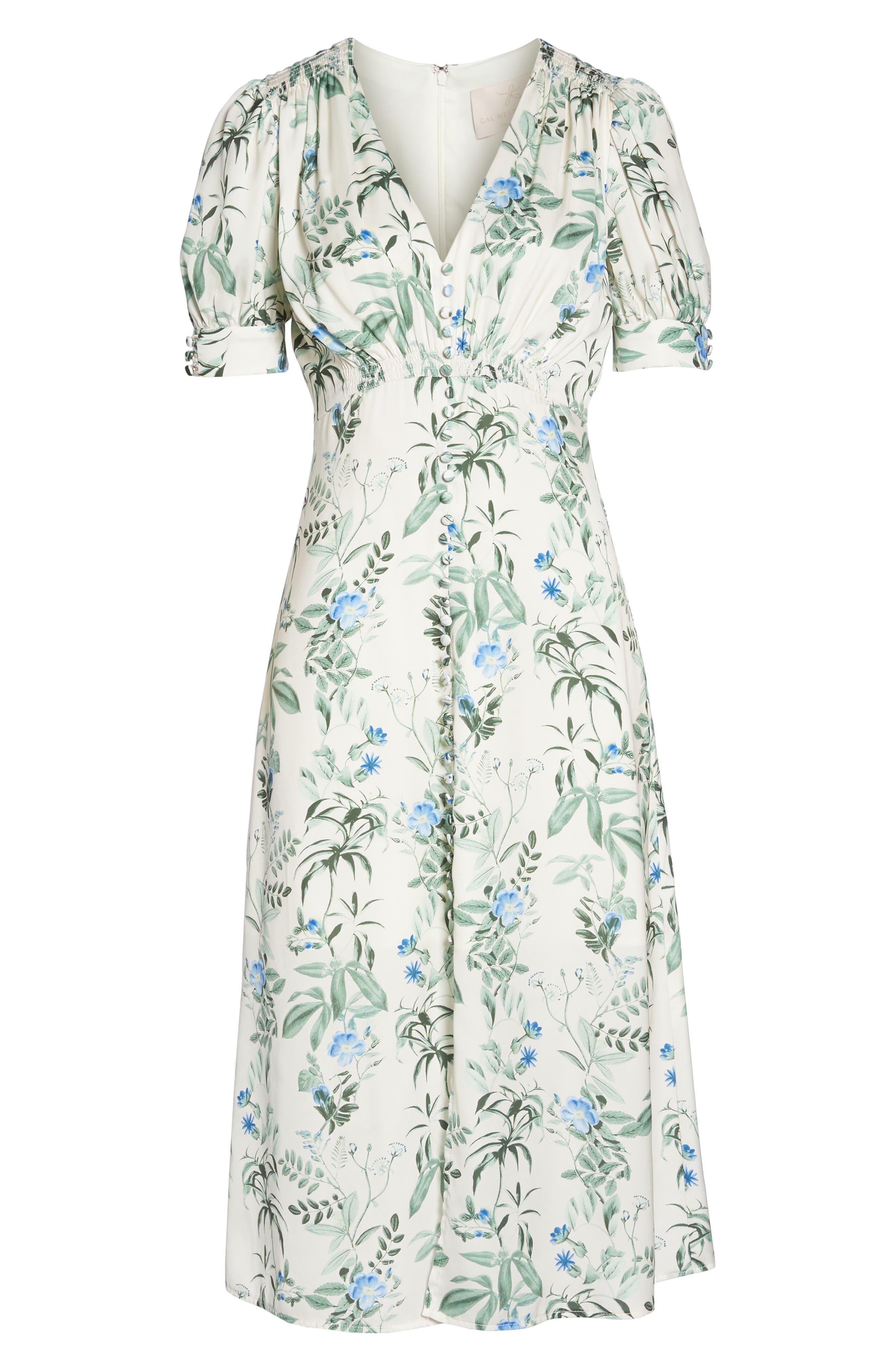 Lauren Botanical Garden Print Midi Dress,                             Alternate thumbnail 8, color,                             Bone/ Blue