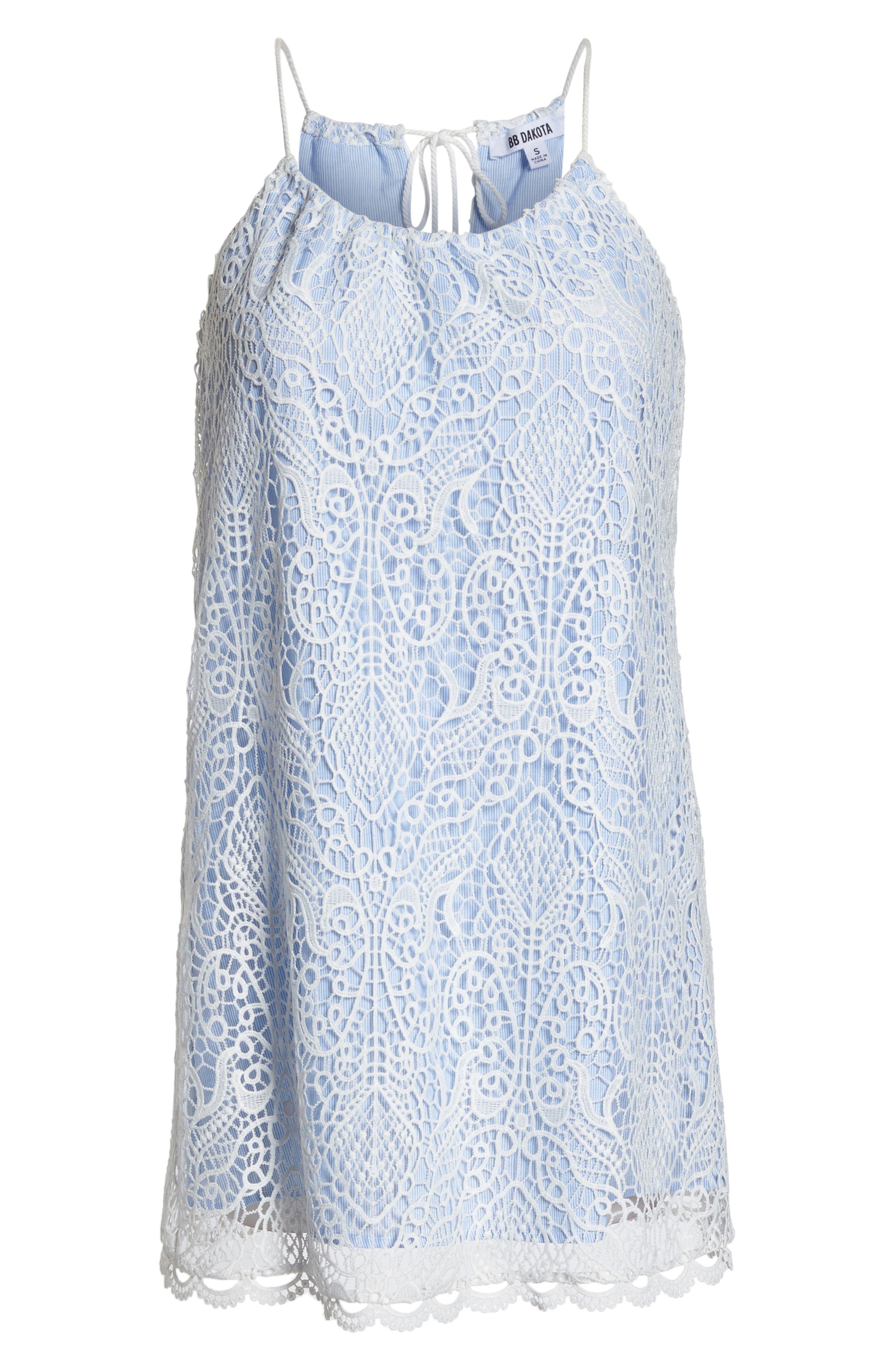 Pinstripe Cotton Lace Shift Dress,                             Alternate thumbnail 7, color,                             Ivory
