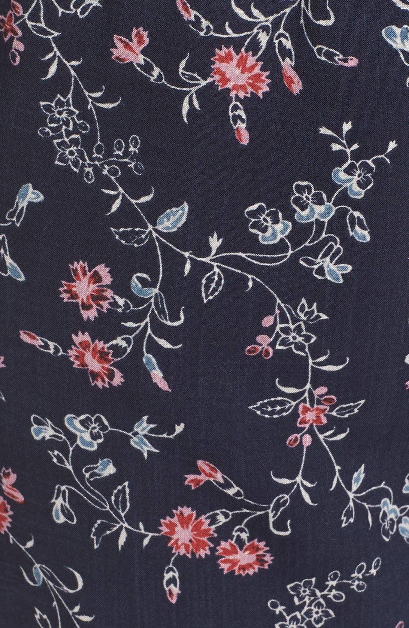 Paletta Floral Print Crop Jumpsuit,                             Alternate thumbnail 6, color,                             Dark Ink Blue