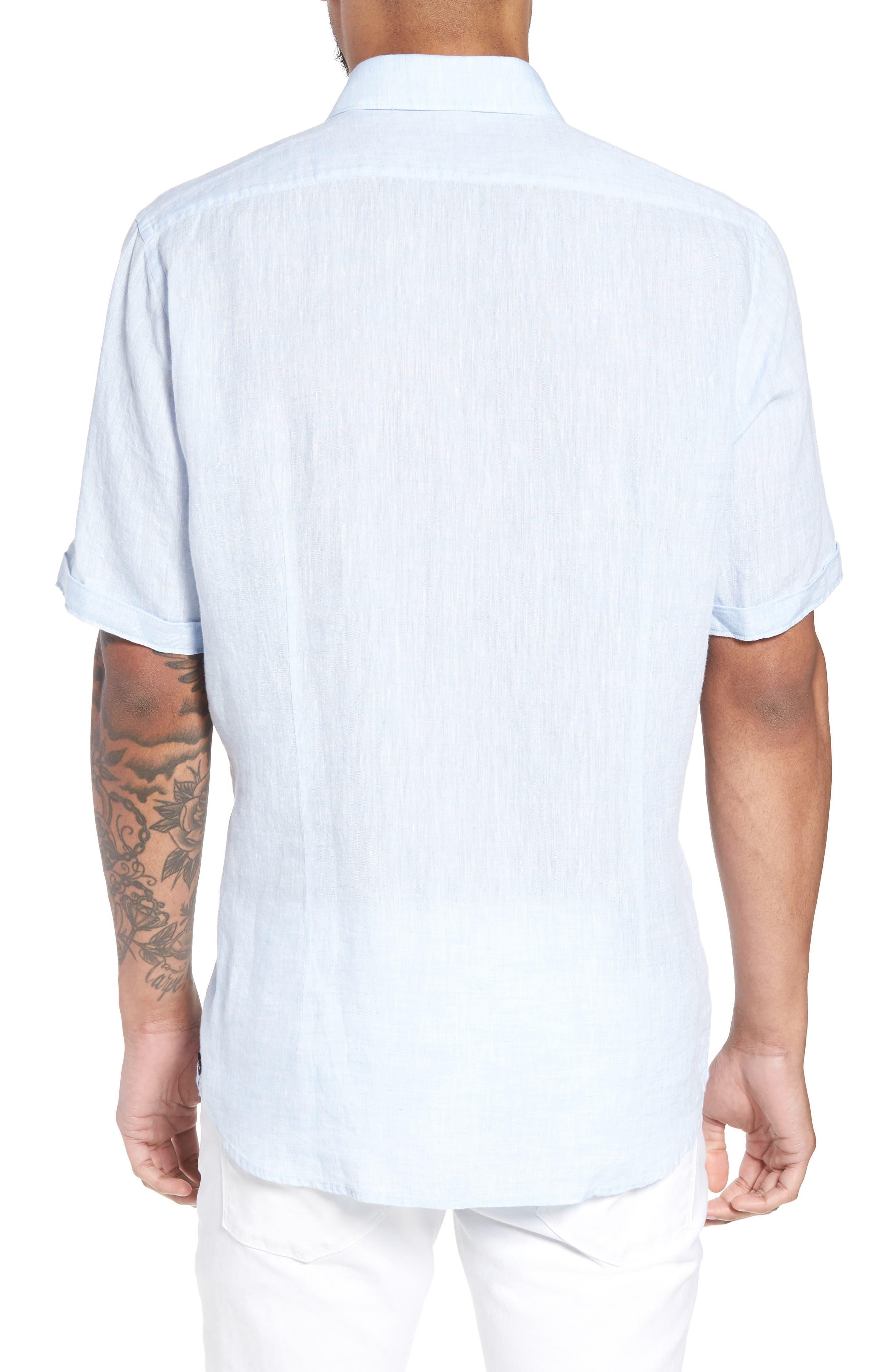 Luka Slim Fit Sport Shirt,                             Alternate thumbnail 3, color,                             Blue