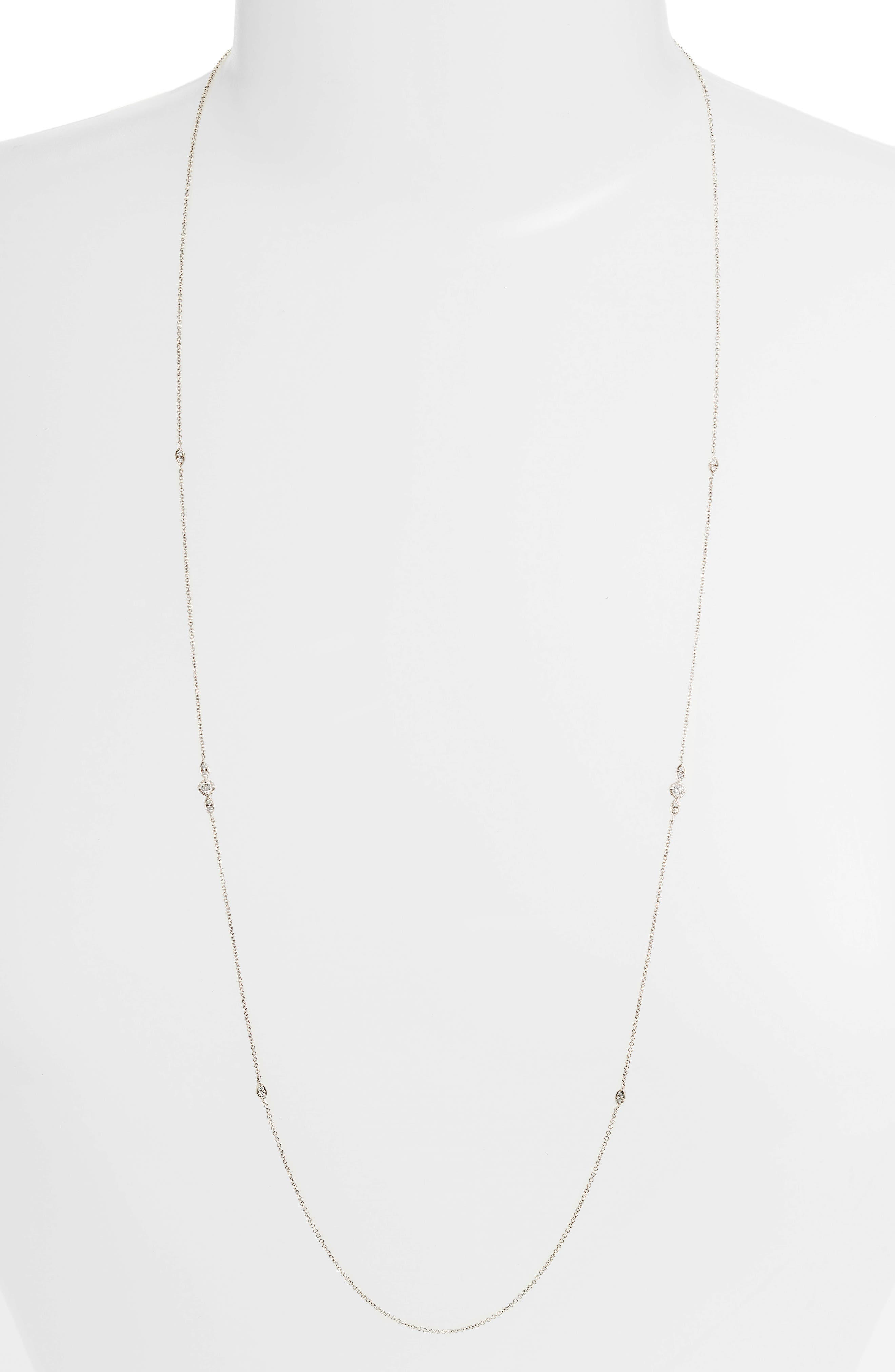 Mila Long Diamond Station Necklace,                             Main thumbnail 1, color,                             White Gold
