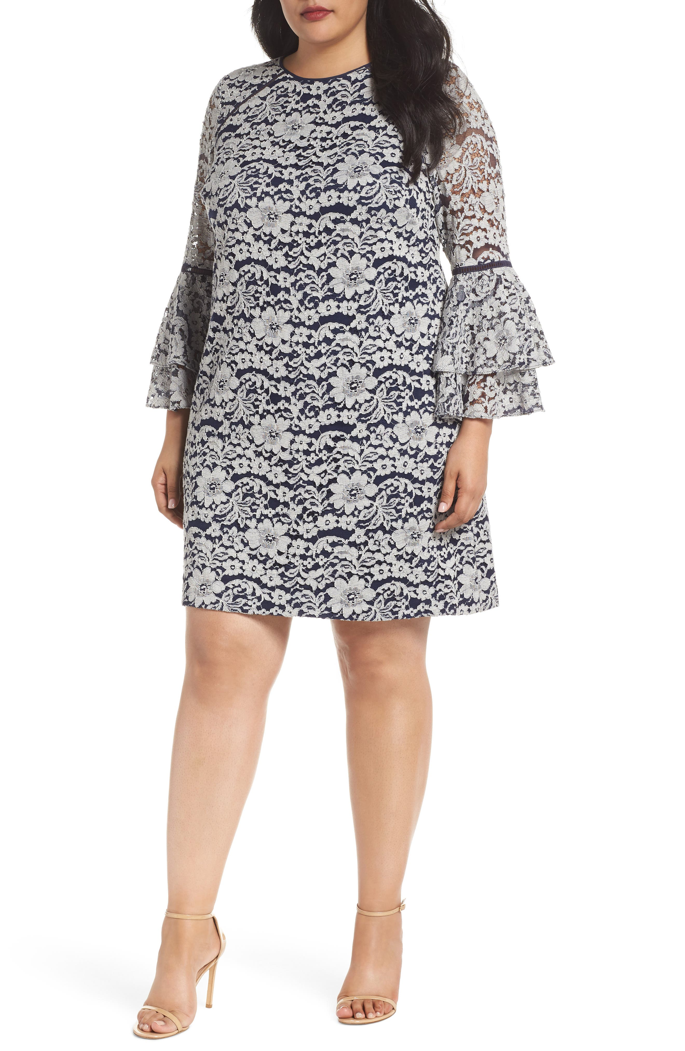 Lace Tier Bell Sleeve Shift Dress,                         Main,                         color, Navy/ Ivory Layla Lace