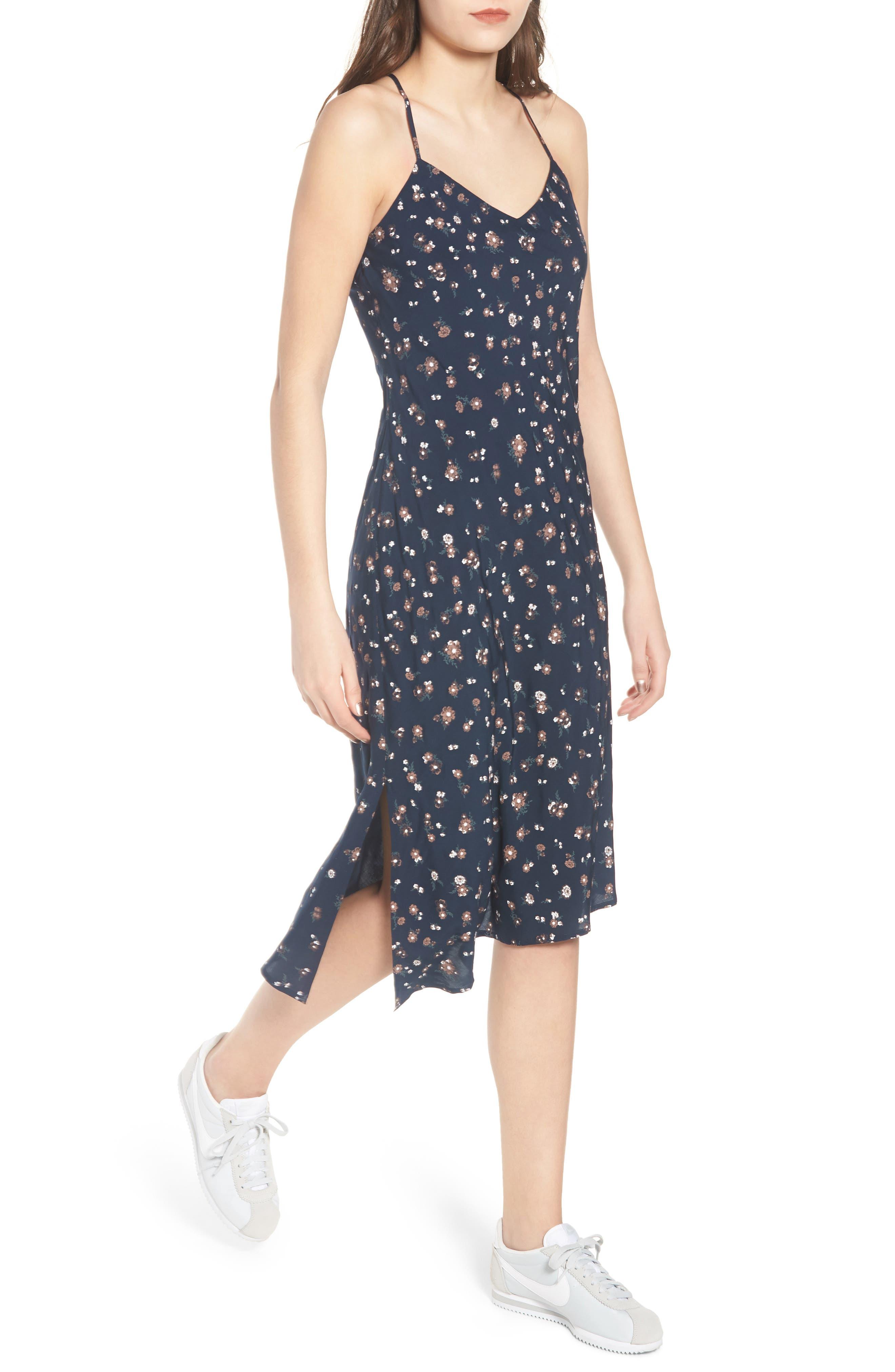 Scarlett Print Midi Dress,                             Alternate thumbnail 4, color,                             Navy Multi