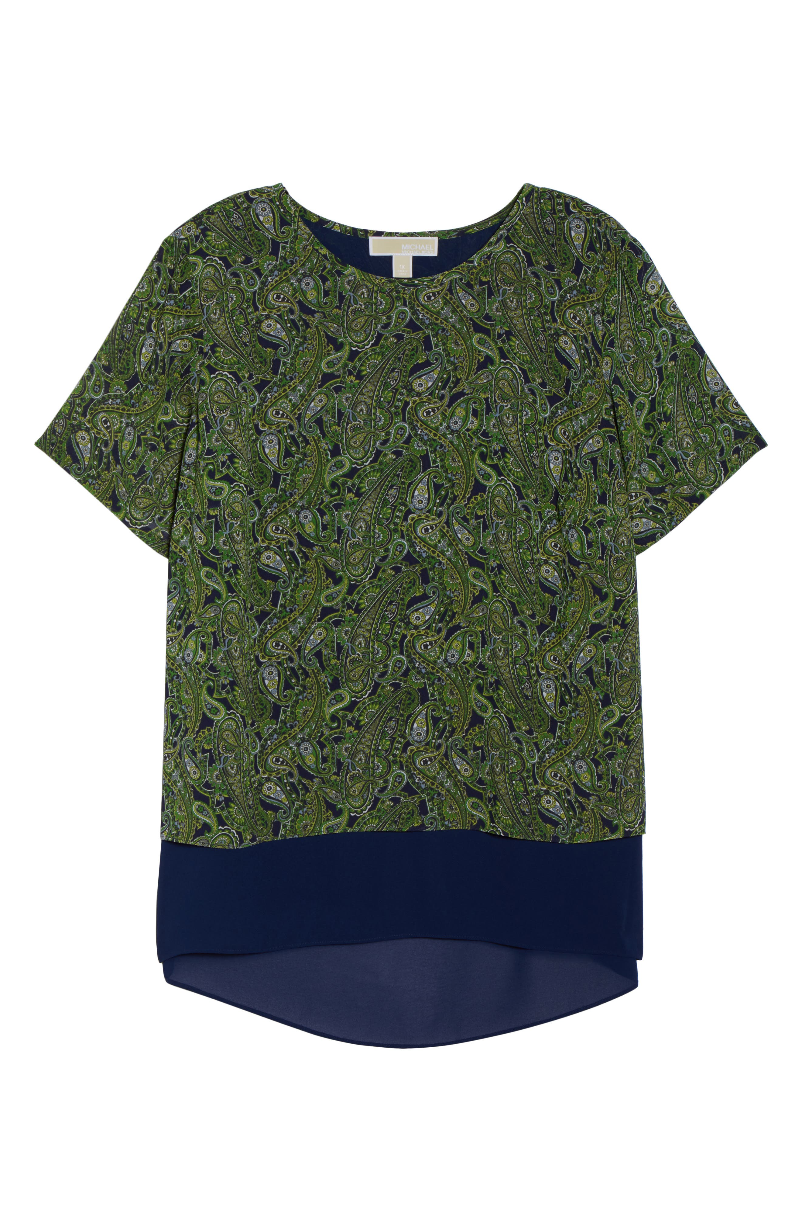 Paisley Paradise Layered Top,                             Alternate thumbnail 7, color,                             True Navy/ Green Apple Mu