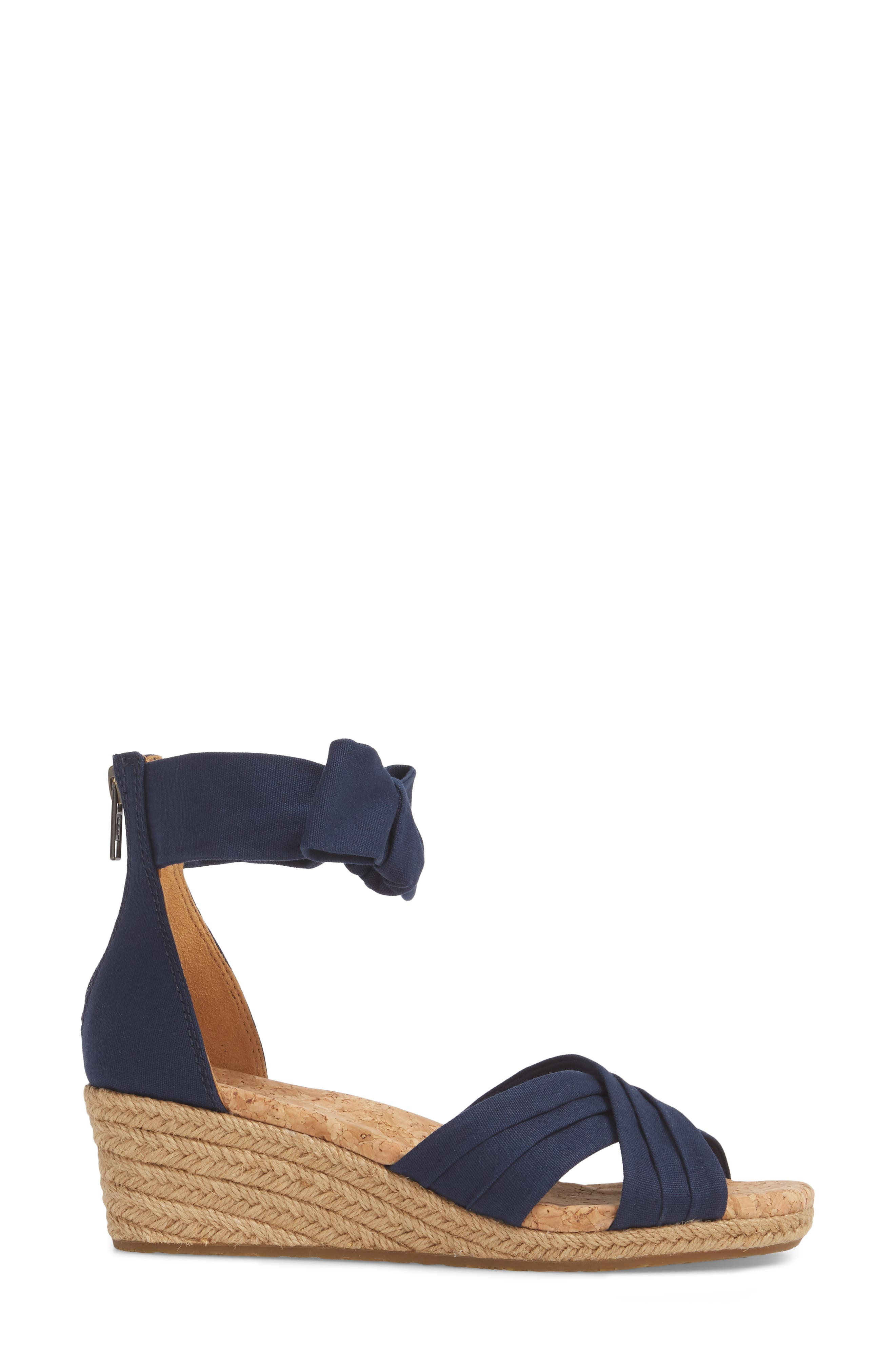Traci Espadrille Wedge Sandal,                             Alternate thumbnail 3, color,                             Navy