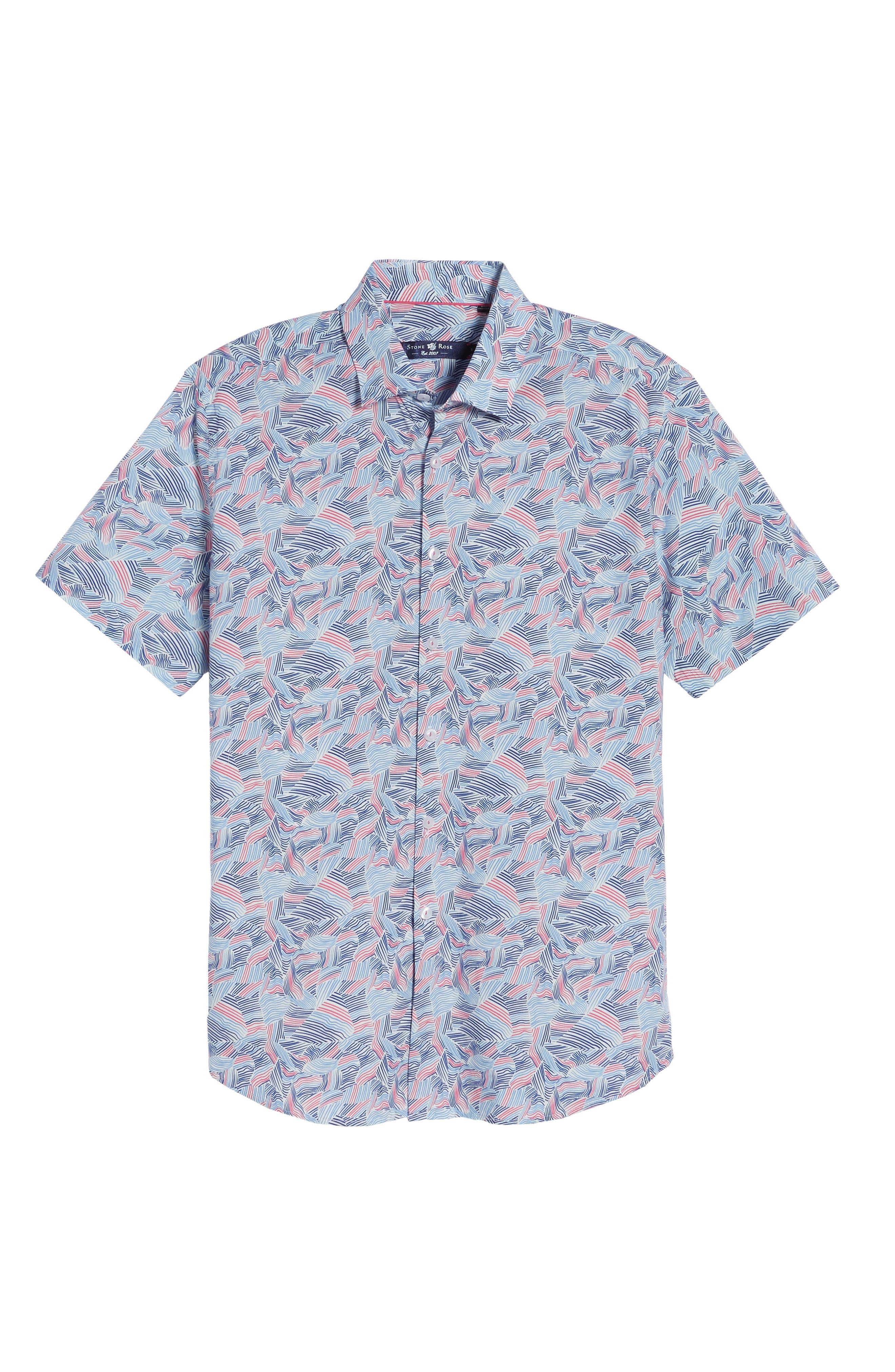 Contemporary Fit Wave Print Sport Shirt,                             Alternate thumbnail 6, color,                             Pink
