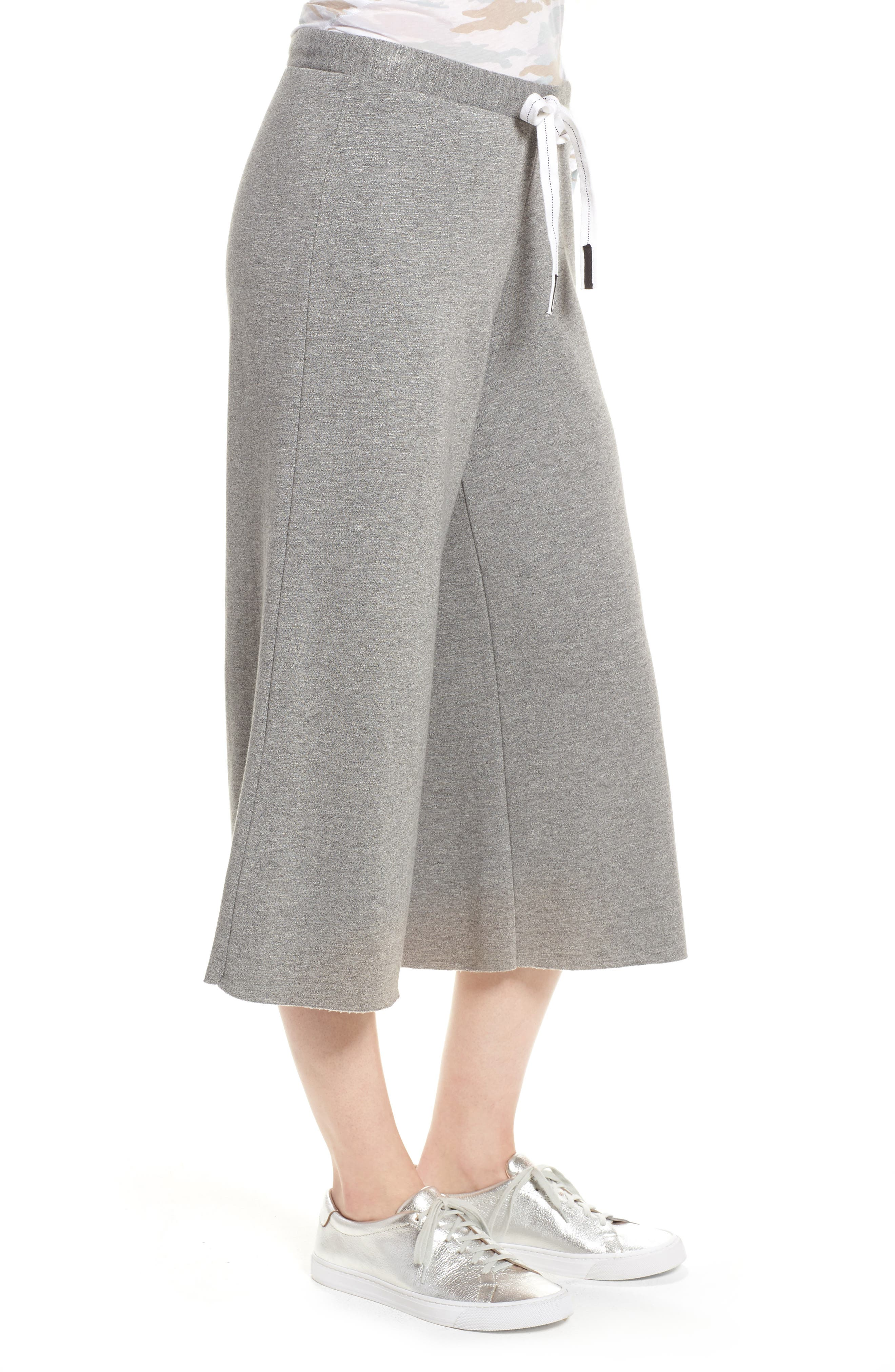 Flare Fleece Pants,                             Alternate thumbnail 3, color,                             Heather Grey