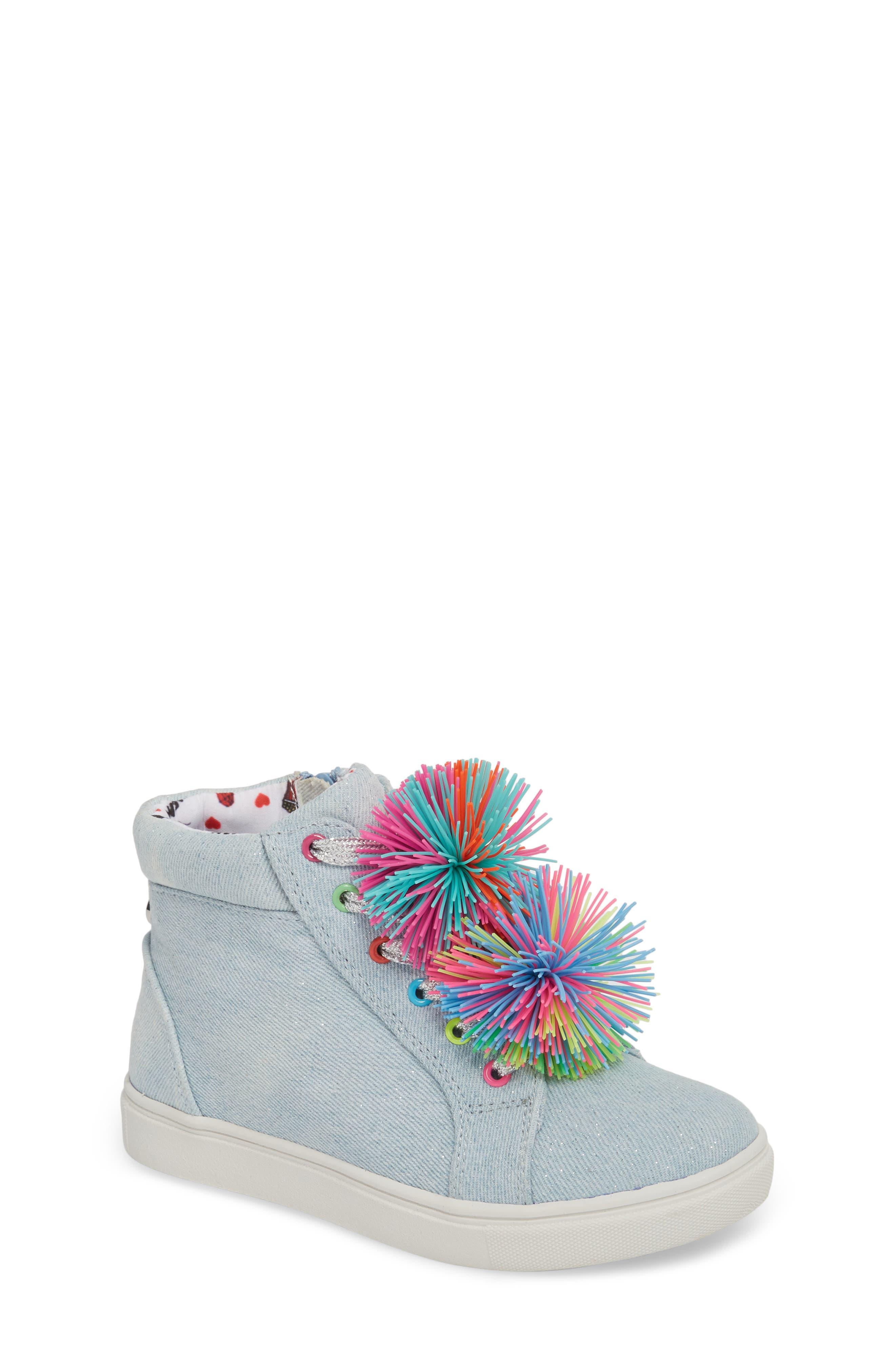 JBrendie Pompom High Top Sneaker,                         Main,                         color, Denim