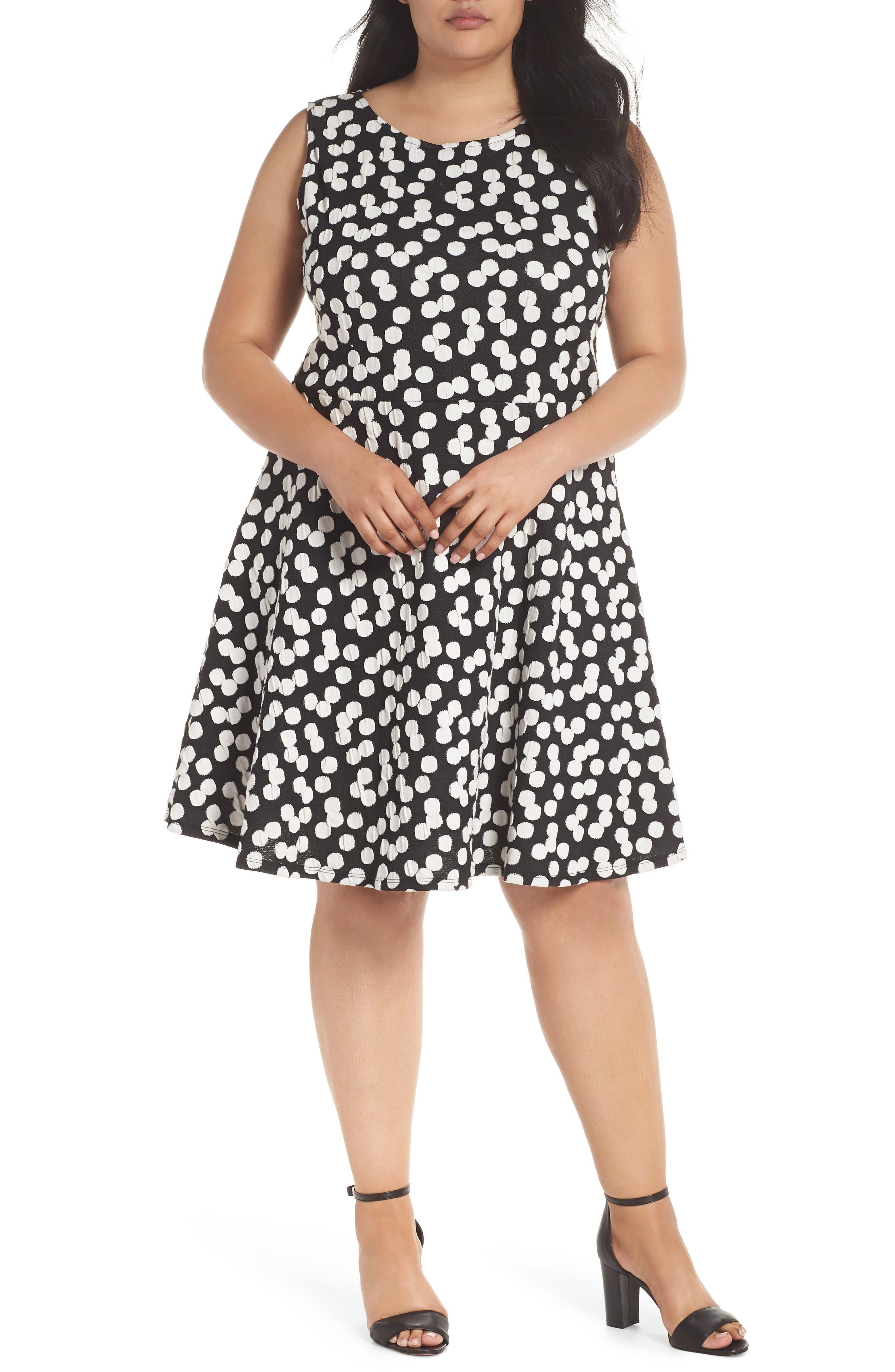 LEOTA Ava Fit & Flare Dress in Cluster Dot