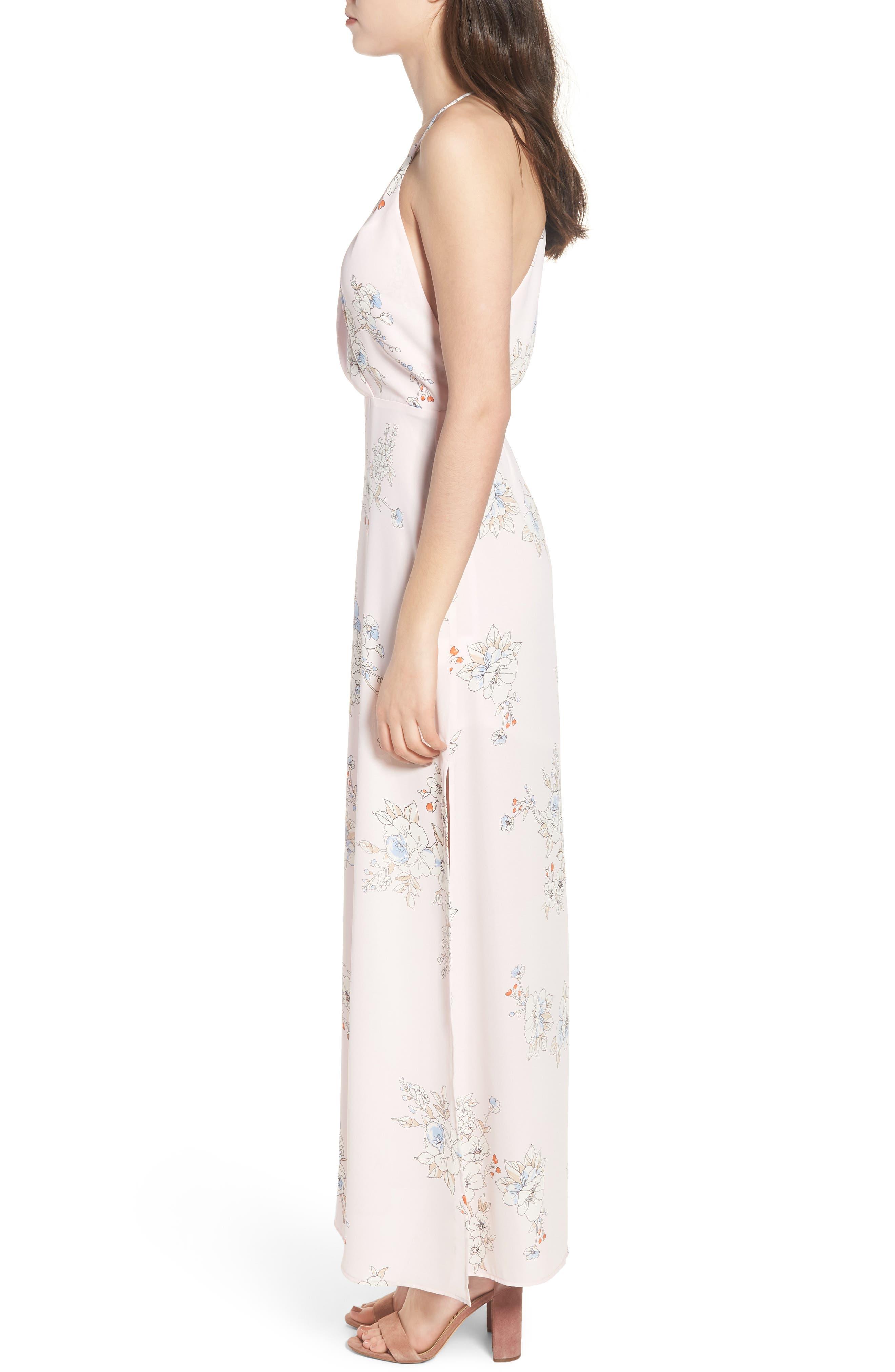 Surplice Maxi Dress,                             Alternate thumbnail 3, color,                             Pale Pink Floral