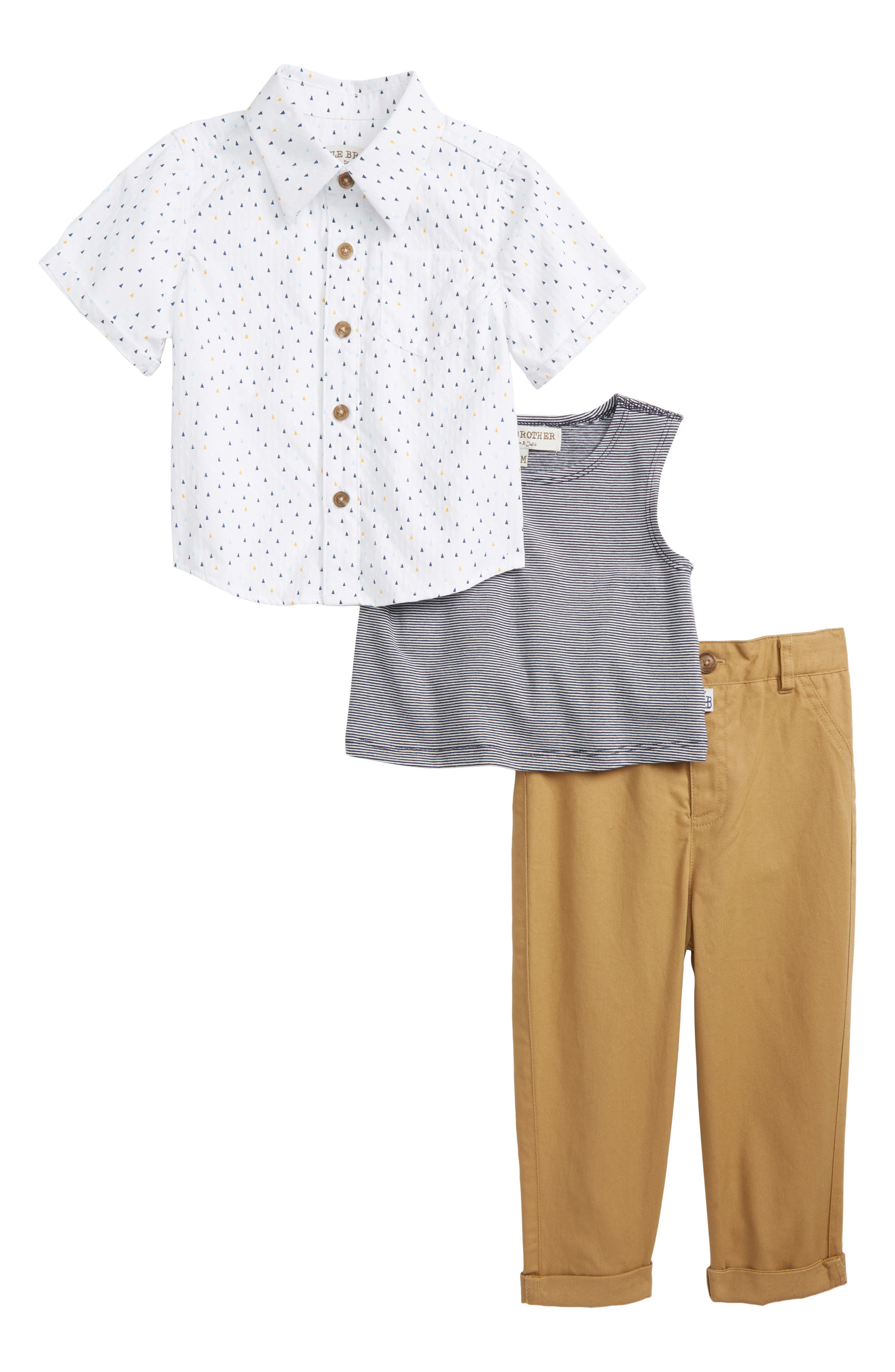 Woven Shirt, Stripe Tank & Khaki Pants Set,                             Main thumbnail 1, color,                             White