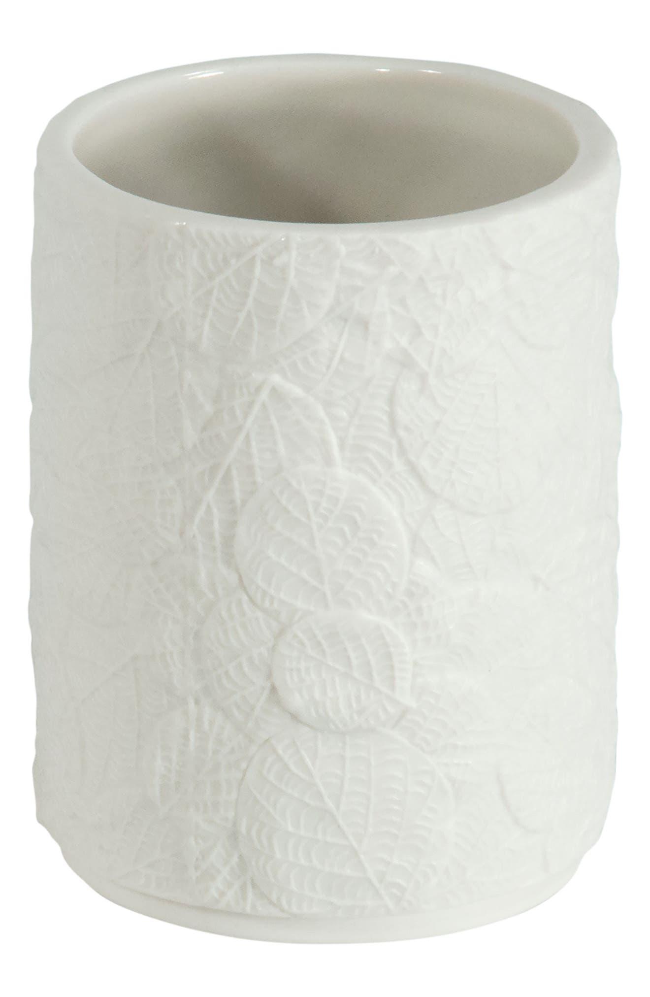 Botanical Leaf Porcelain Tumbler,                         Main,                         color, White