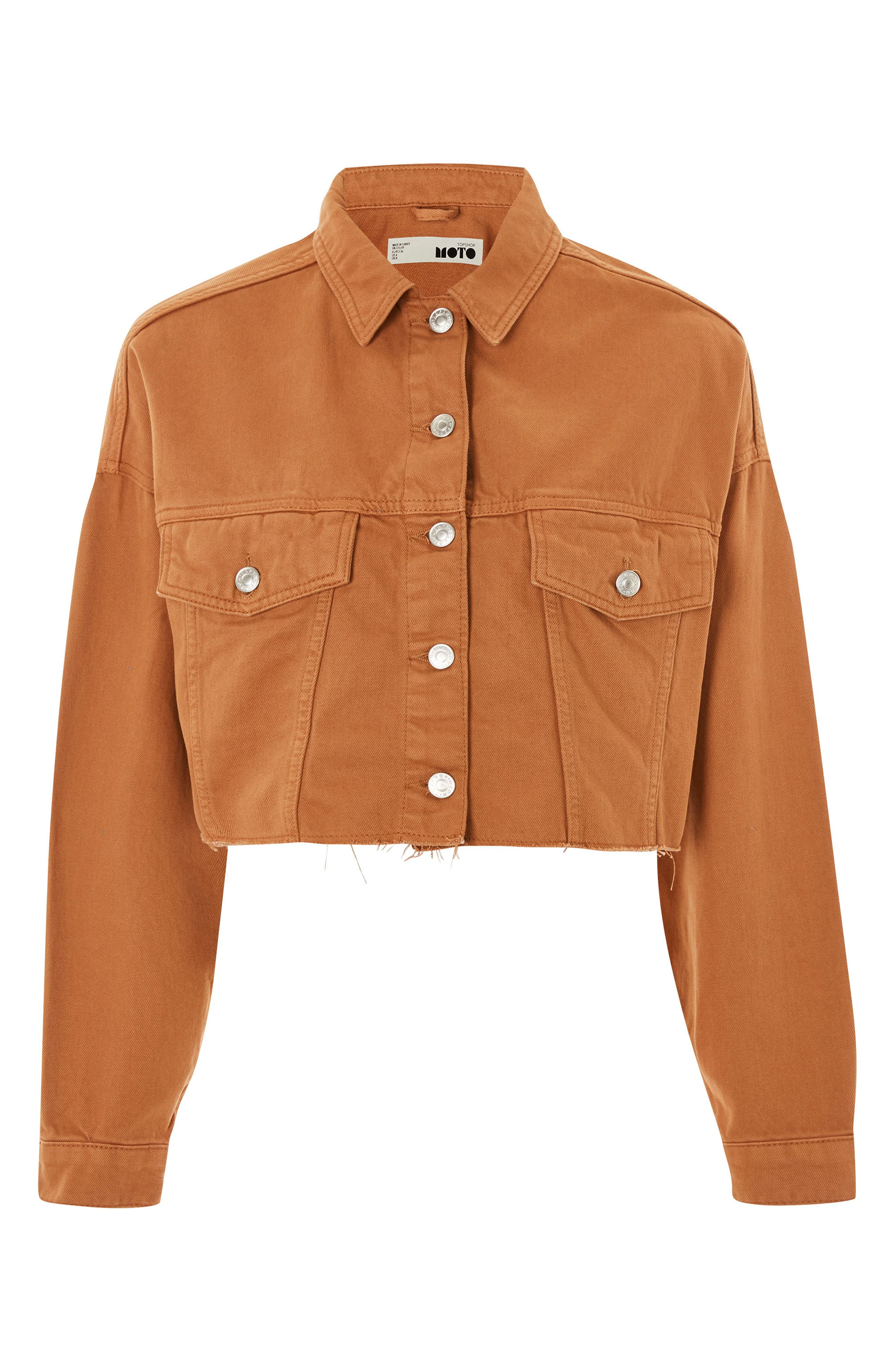Raw Edge Crop Denim Jacket,                             Alternate thumbnail 4, color,                             Rust