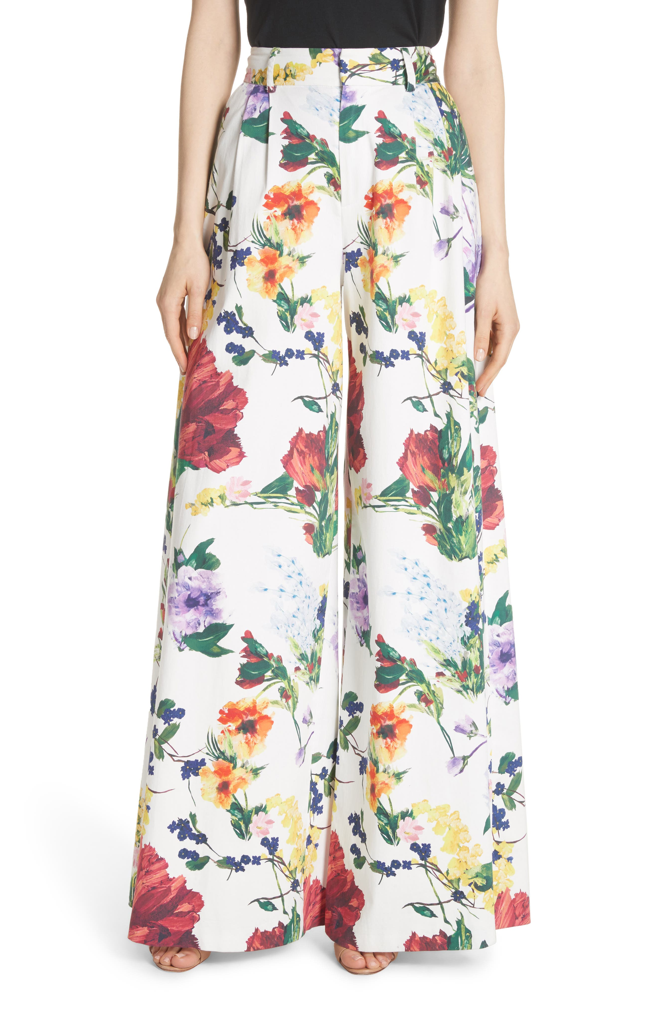 Alice + Olivia Dustin Floral Flared Pants