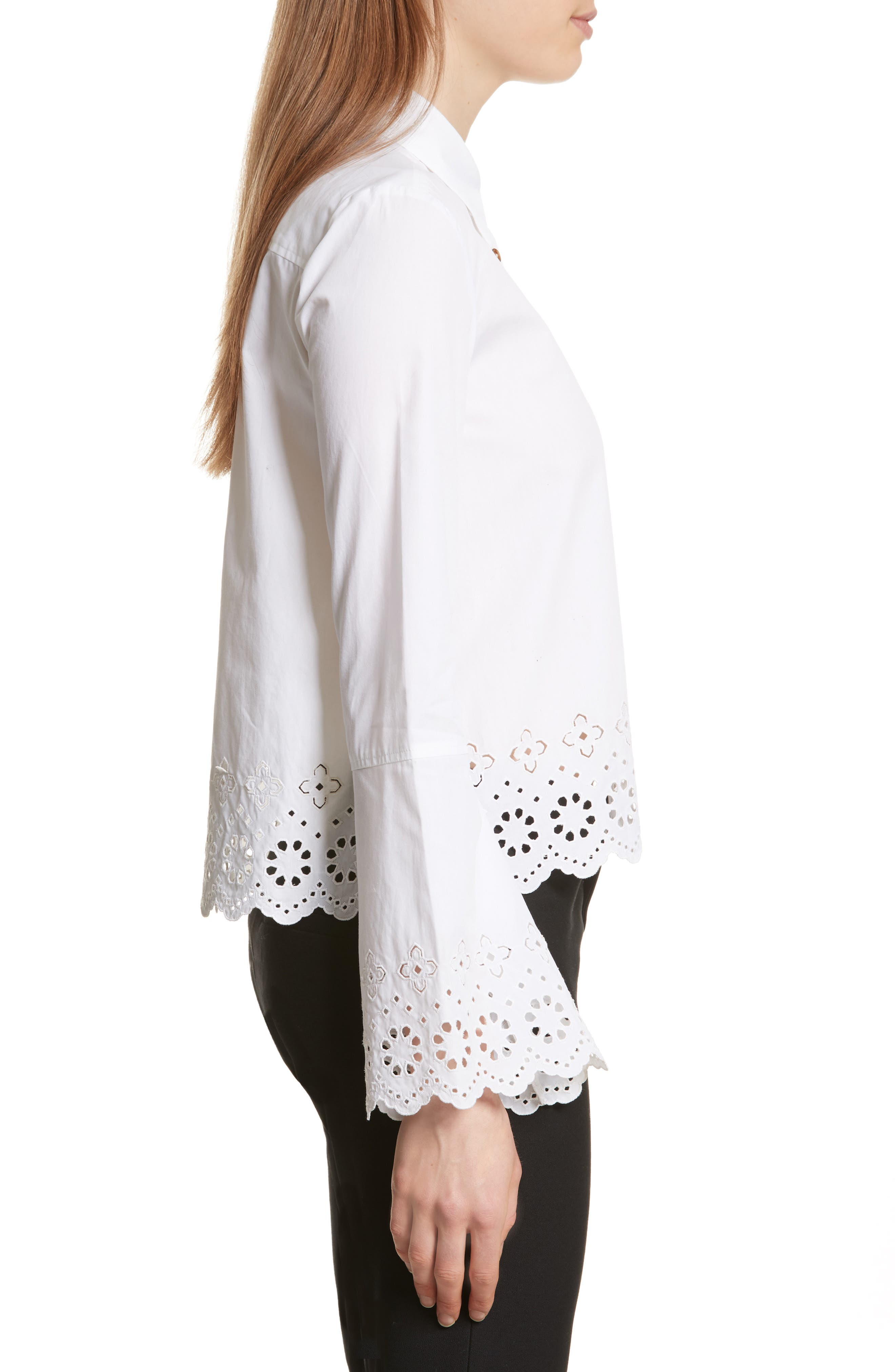 Embroidered Poplin Top,                             Alternate thumbnail 3, color,                             Optic White