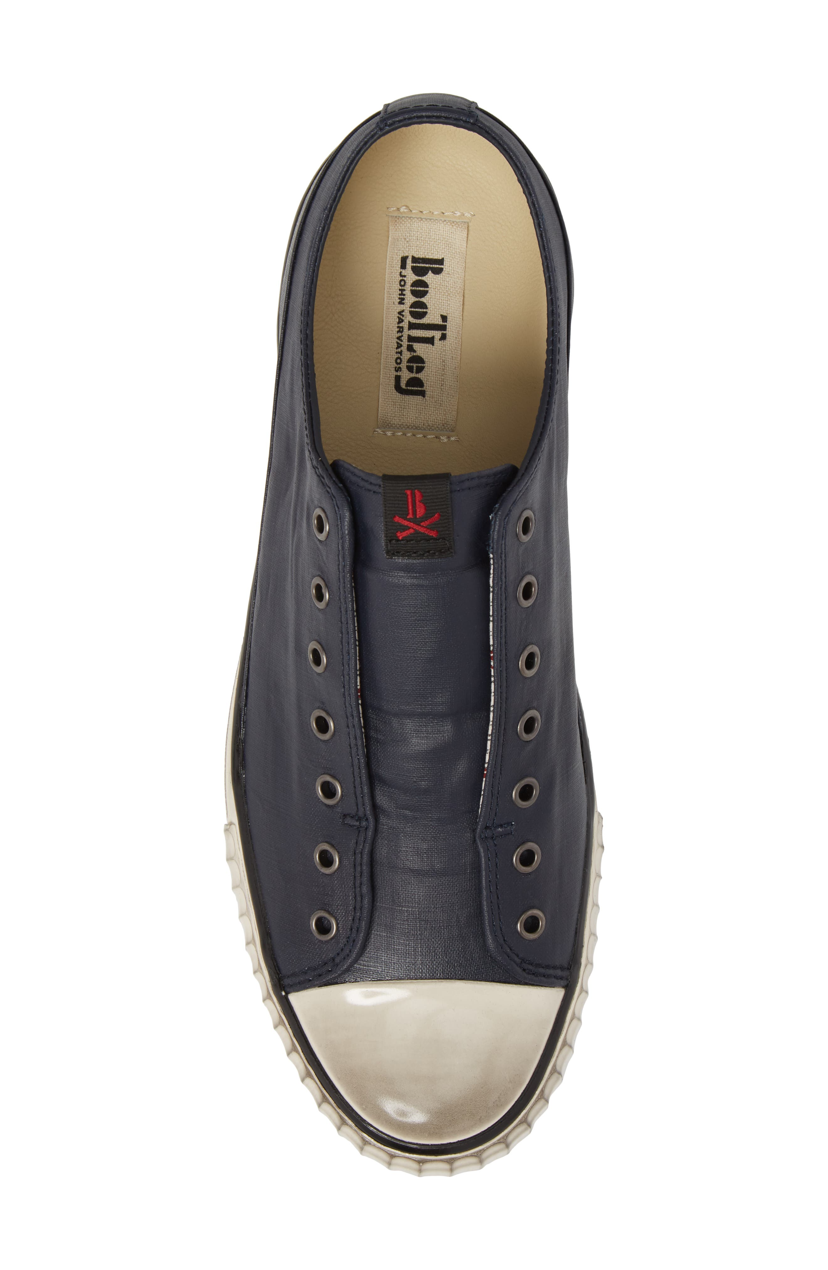 John Varvatos Star USA Bootleg Linen Laceless Sneaker,                             Alternate thumbnail 5, color,                             Midnight Linen