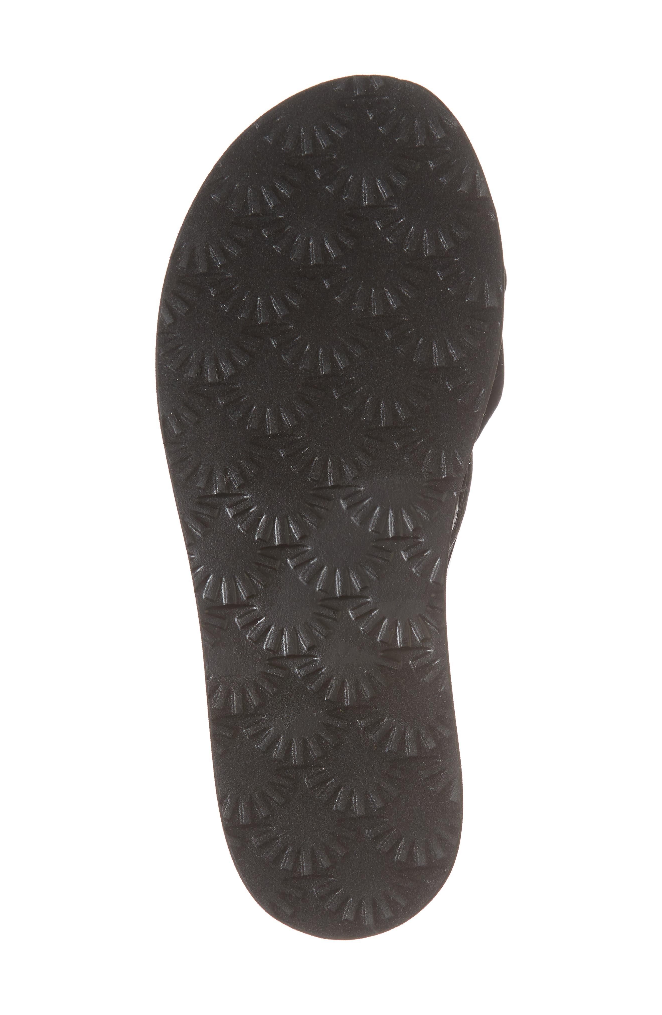 Poppy Genuine Shearling Flip Flop,                             Alternate thumbnail 6, color,                             Black