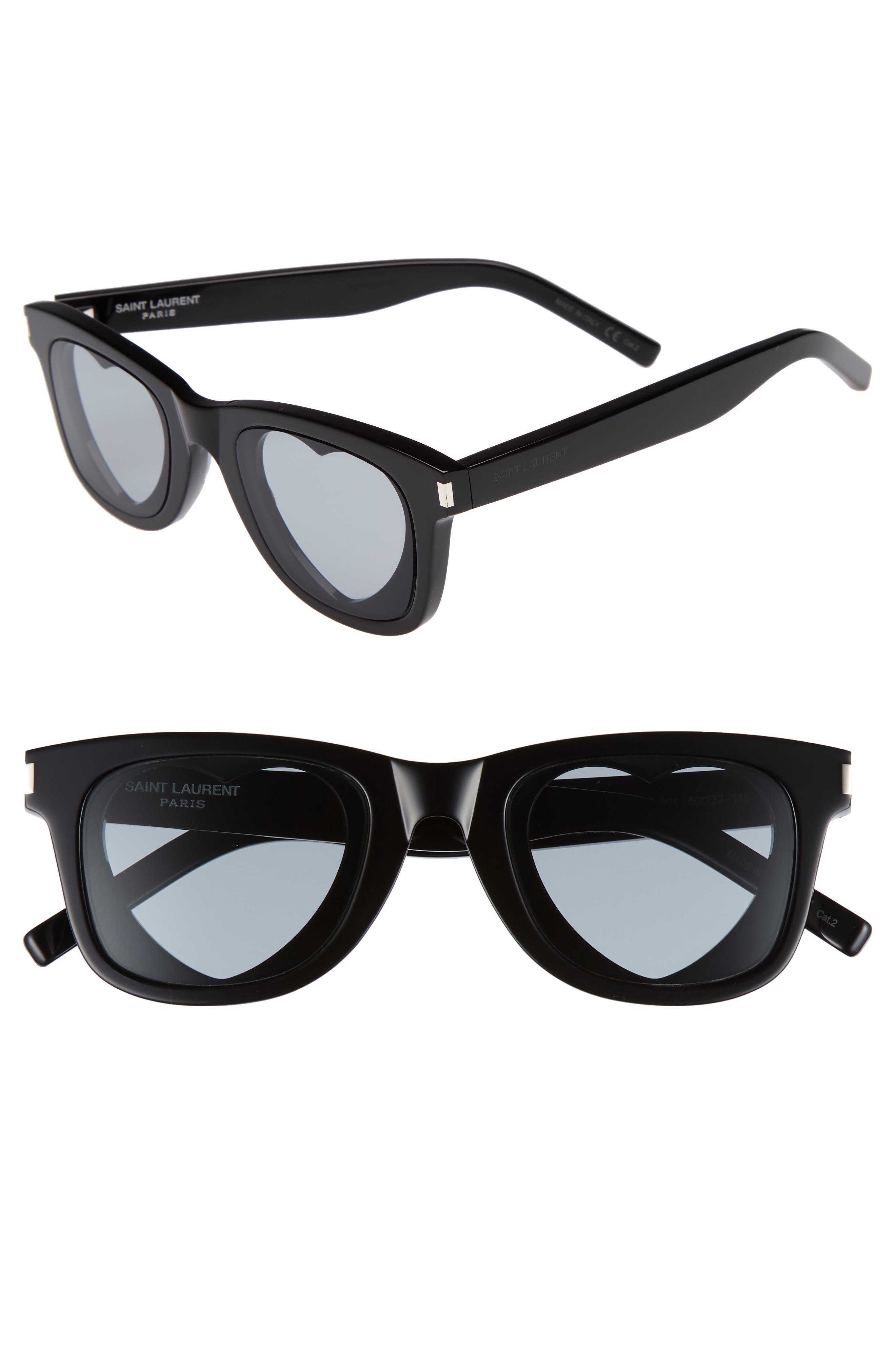 50mm Heart Sunglasses,                             Main thumbnail 1, color,                             Black