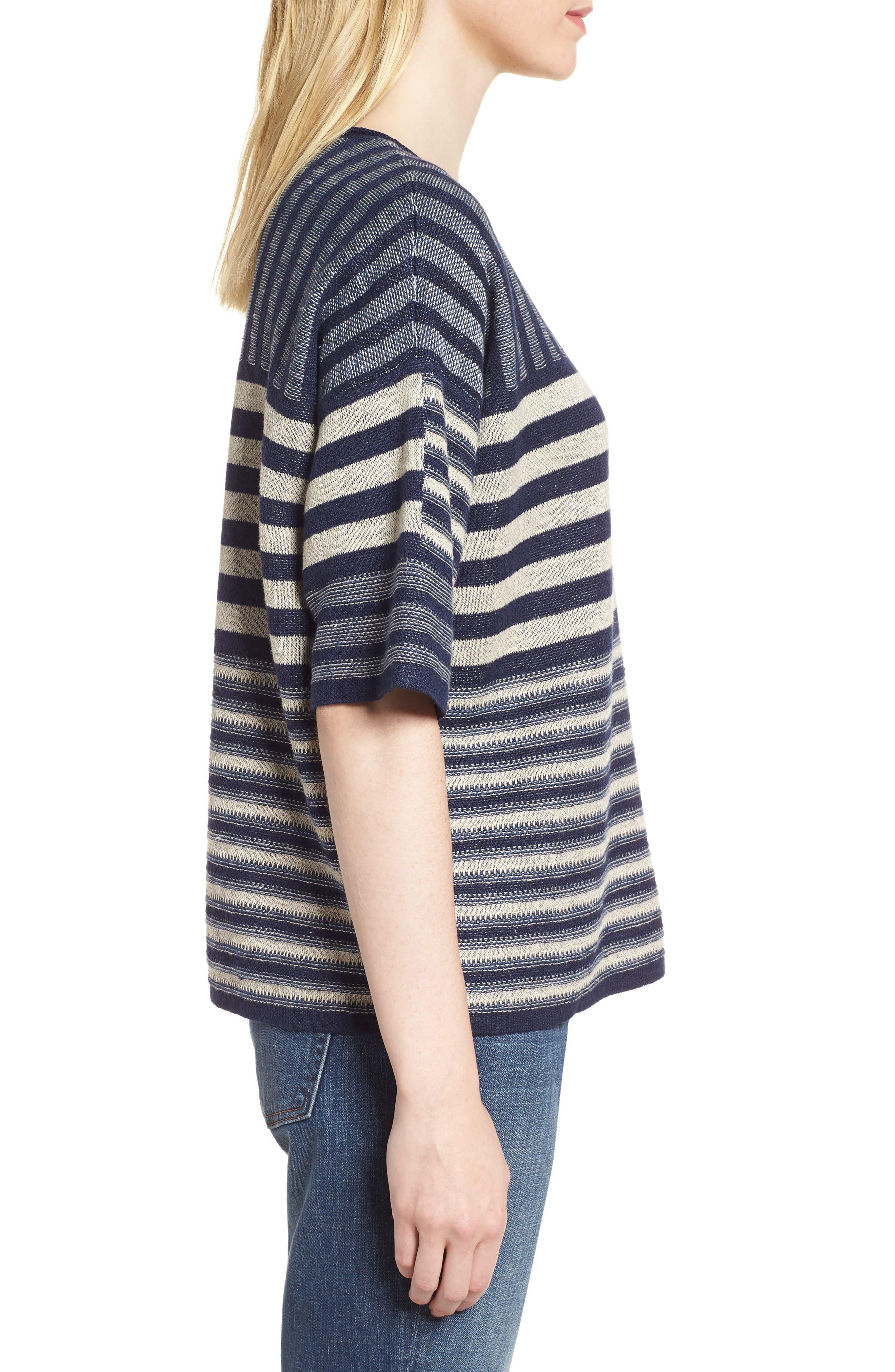 Mixed Stripe Organic Linen Top,                             Alternate thumbnail 3, color,                             Denim