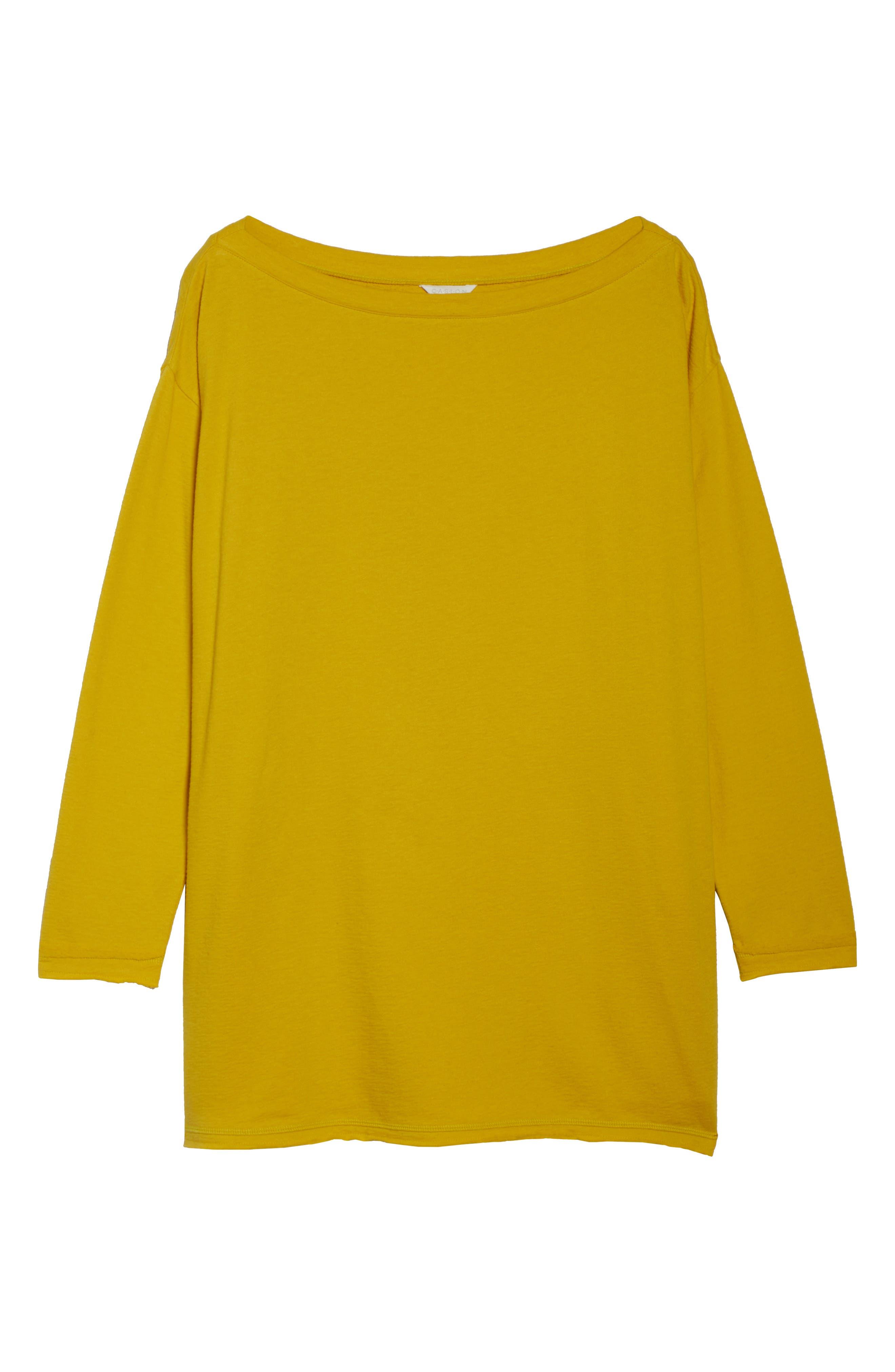 Side Tie Cotton Tunic Top,                             Alternate thumbnail 7, color,                             Yellow Tea