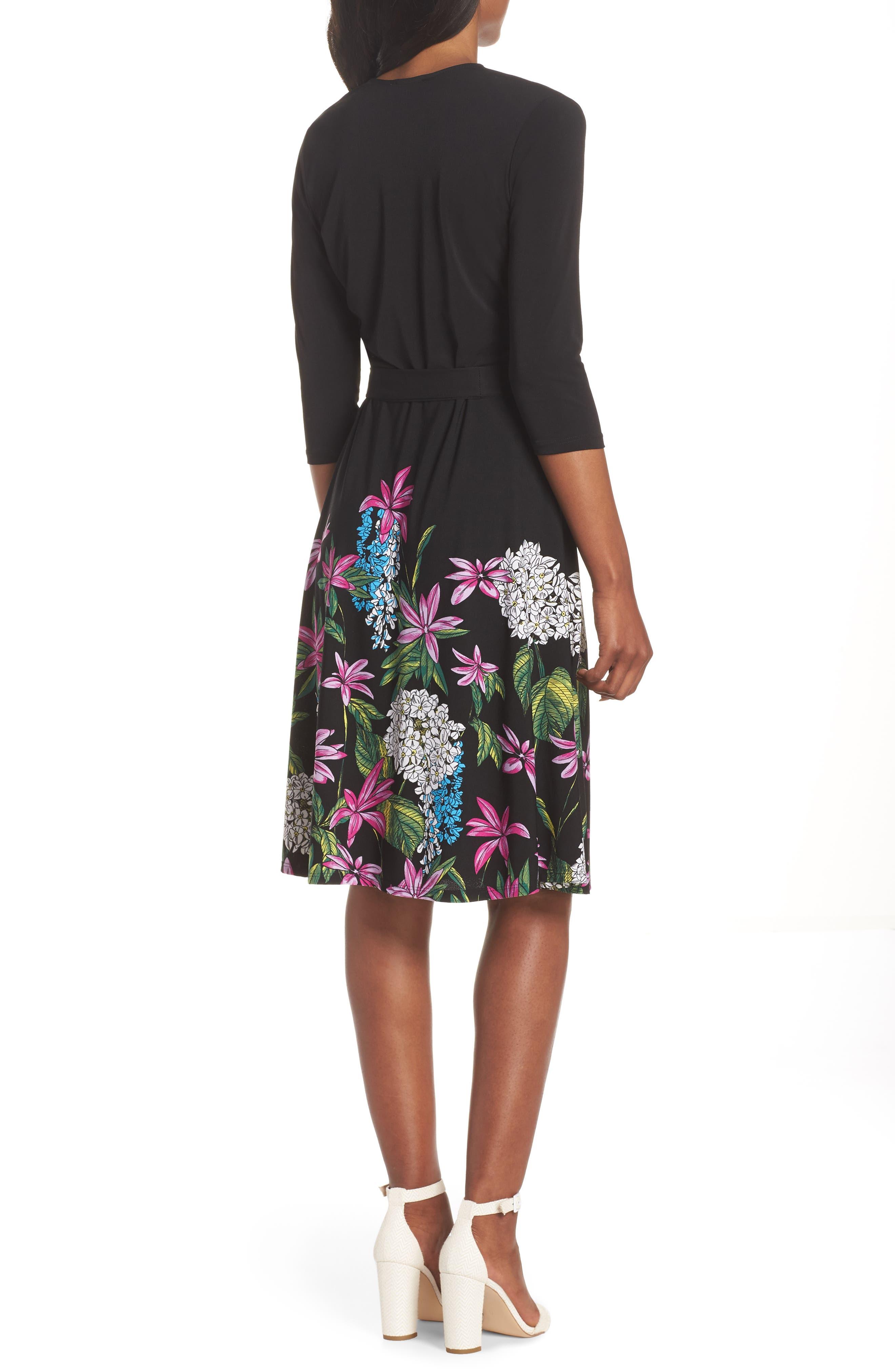 Print Jersey Faux Wrap Dress,                             Alternate thumbnail 2, color,                             Terrarium