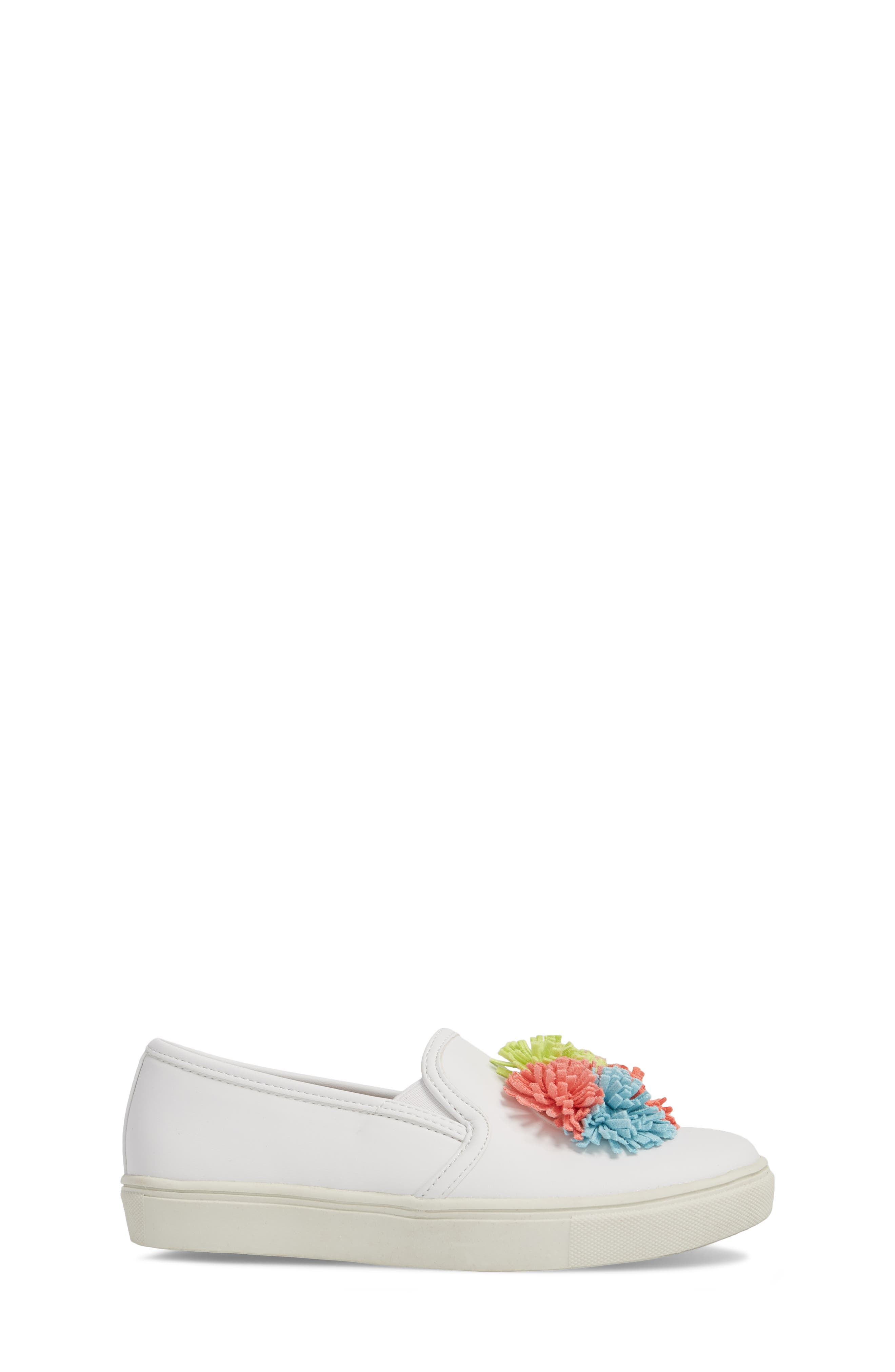 Twiny Pompom Slip-On Sneaker,                             Alternate thumbnail 3, color,                             White Faux Leather