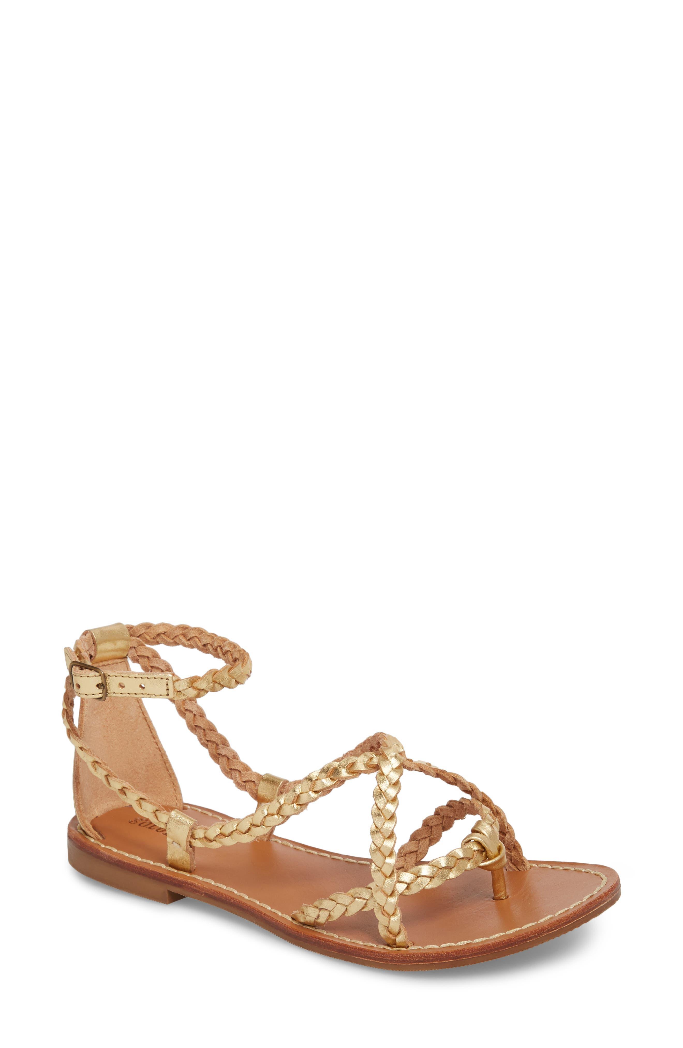 Amalfi Braided Metallic Sandal,                             Main thumbnail 1, color,                             Gold Leather