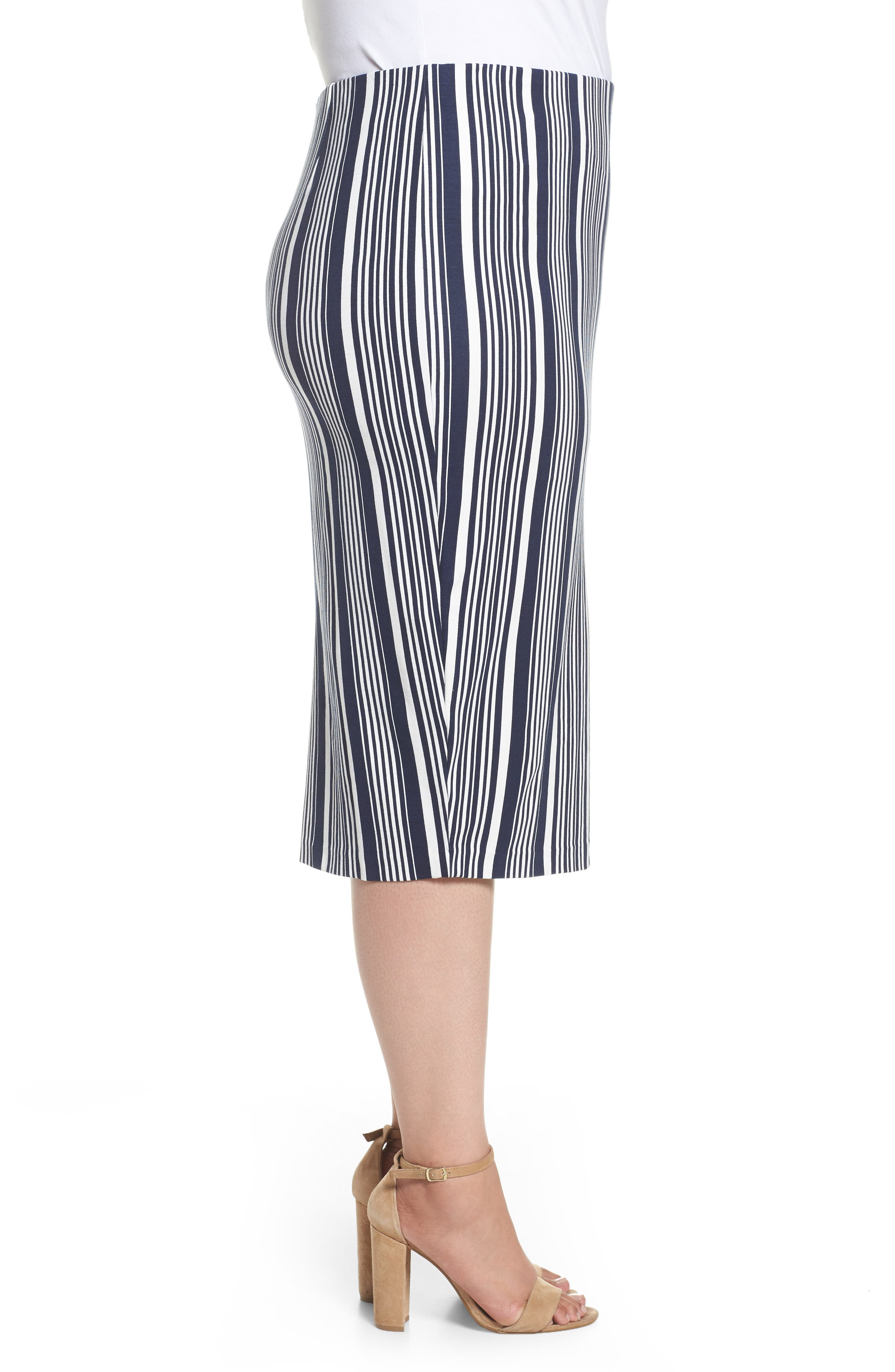 Stripe Ponte Pencil Skirt,                             Alternate thumbnail 3, color,                             Navy Alexis Stripe