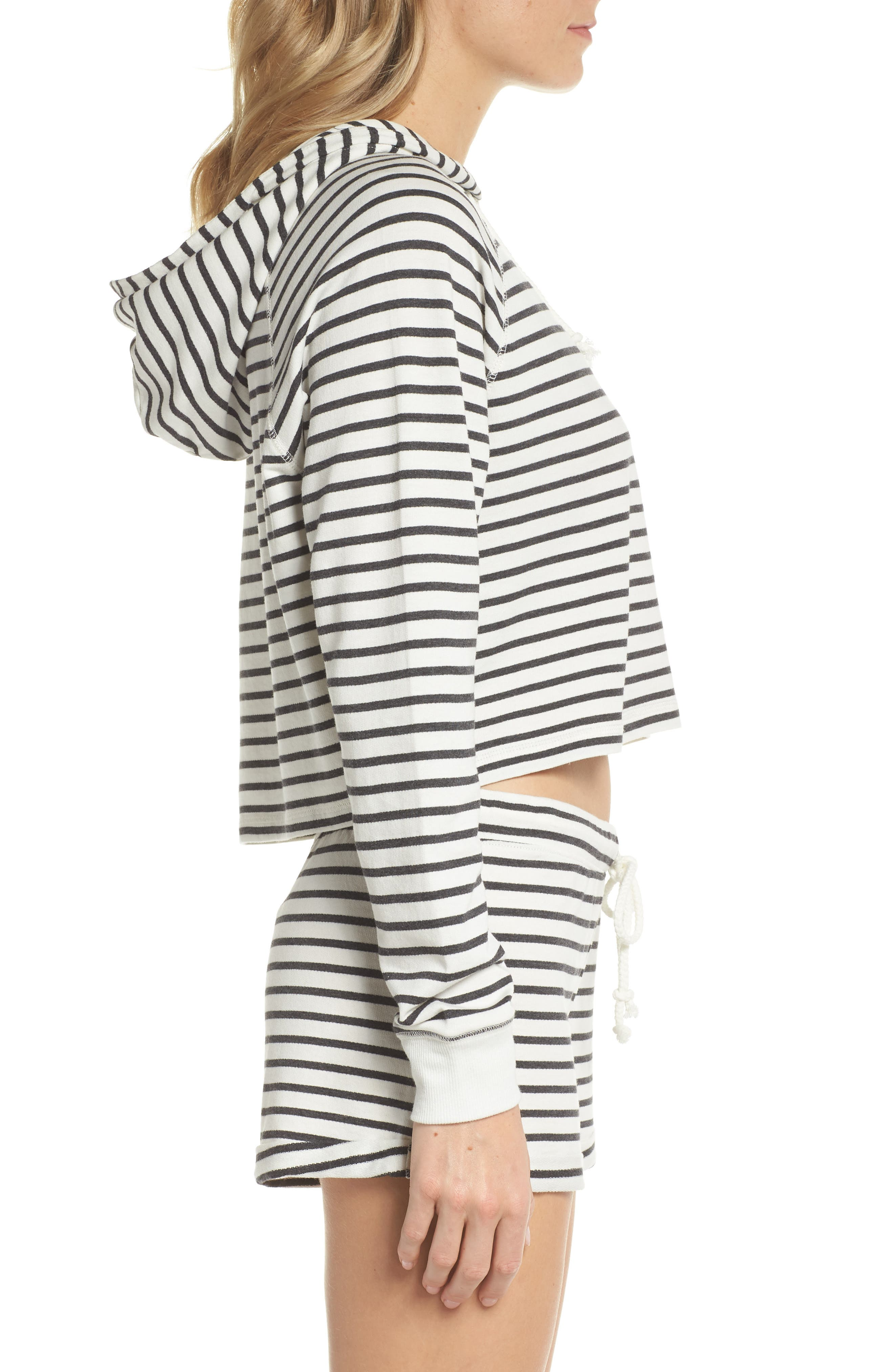French Terry Crop Hoodie,                             Alternate thumbnail 3, color,                             Heather Black Stripe