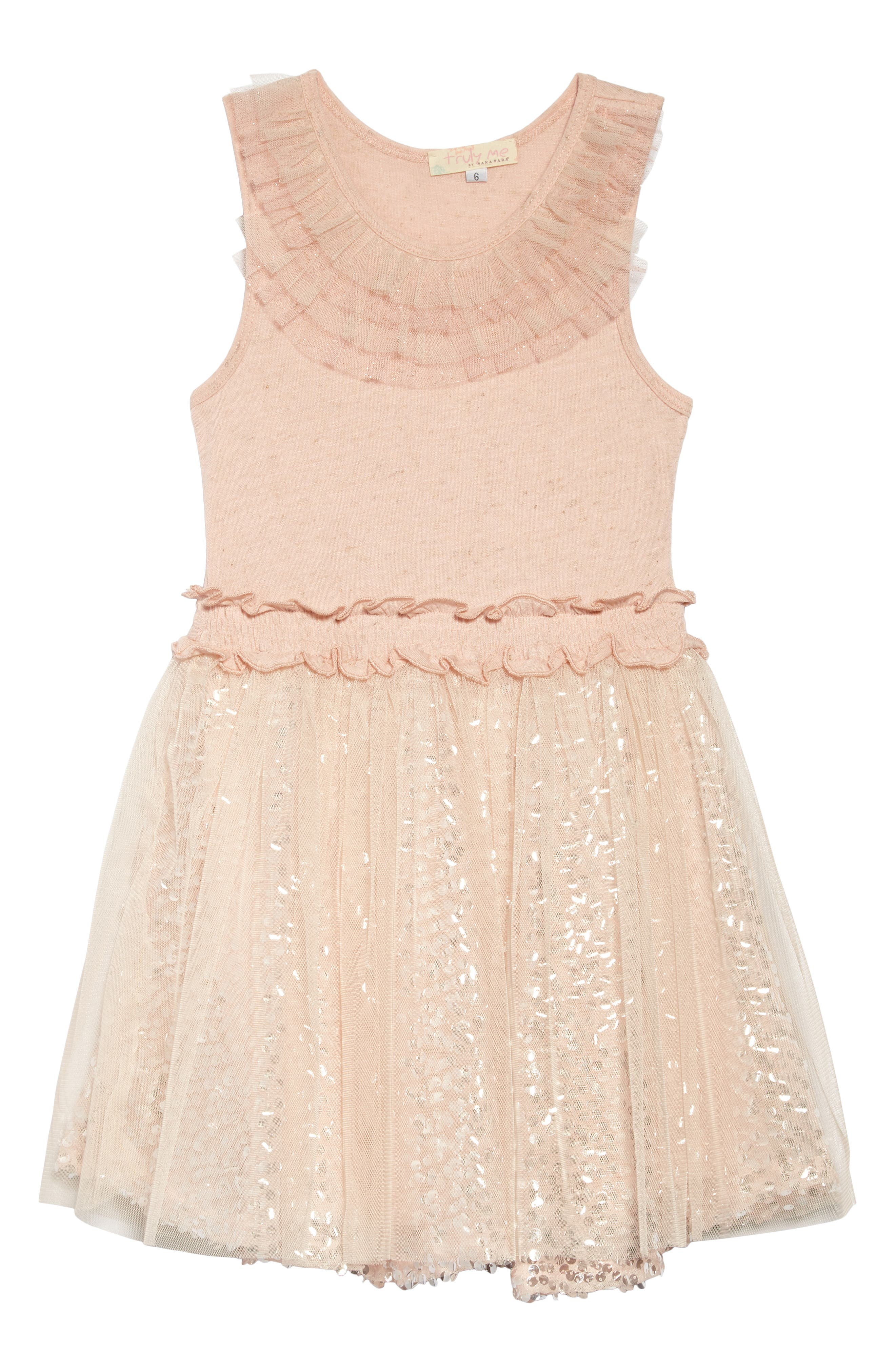 Sequin & Ruffle Dress,                             Main thumbnail 1, color,                             Pink