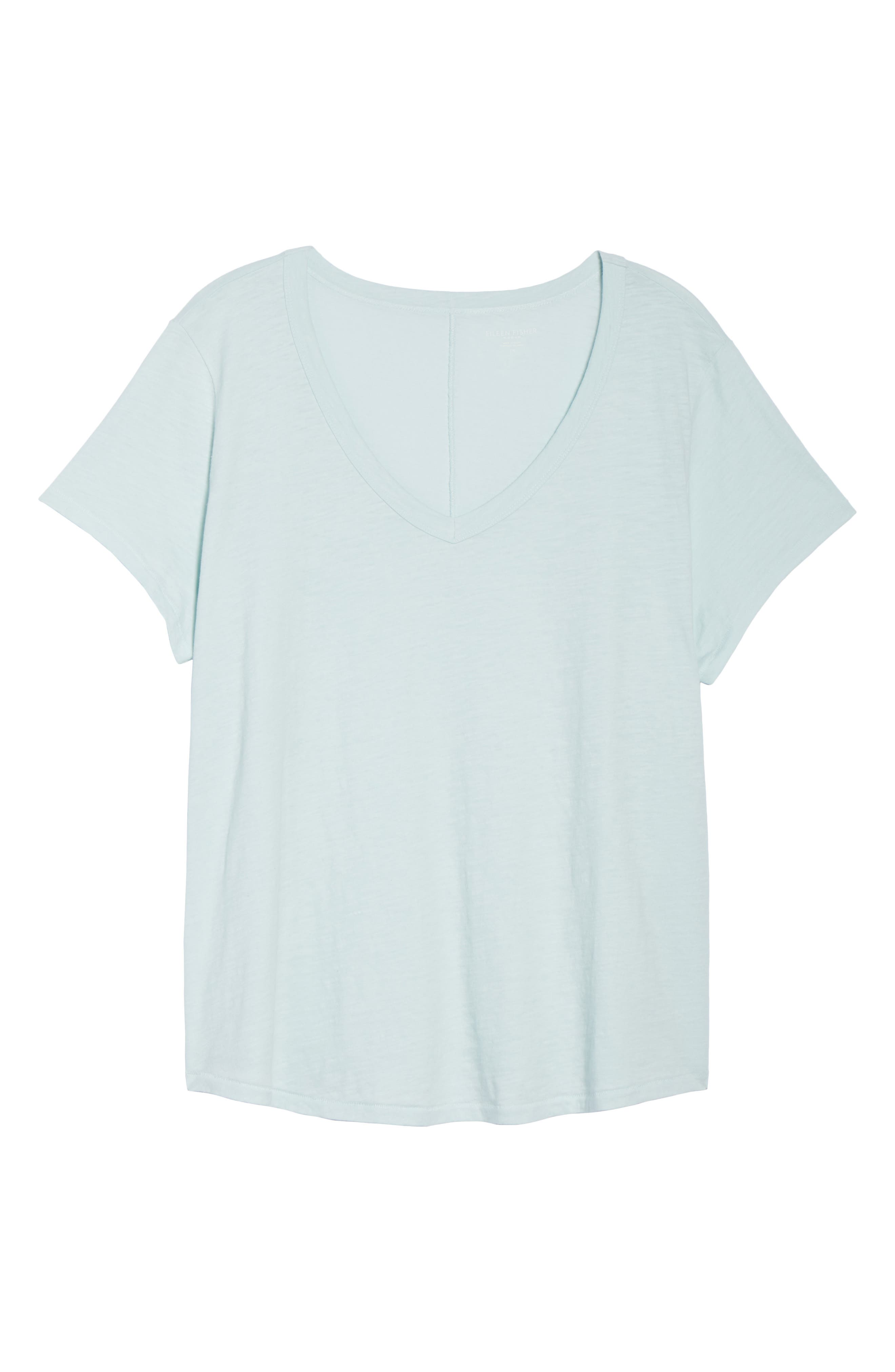 Alternate Image 6  - Eileen Fisher V-Neck Organic Cotton Tee (Plus Size)