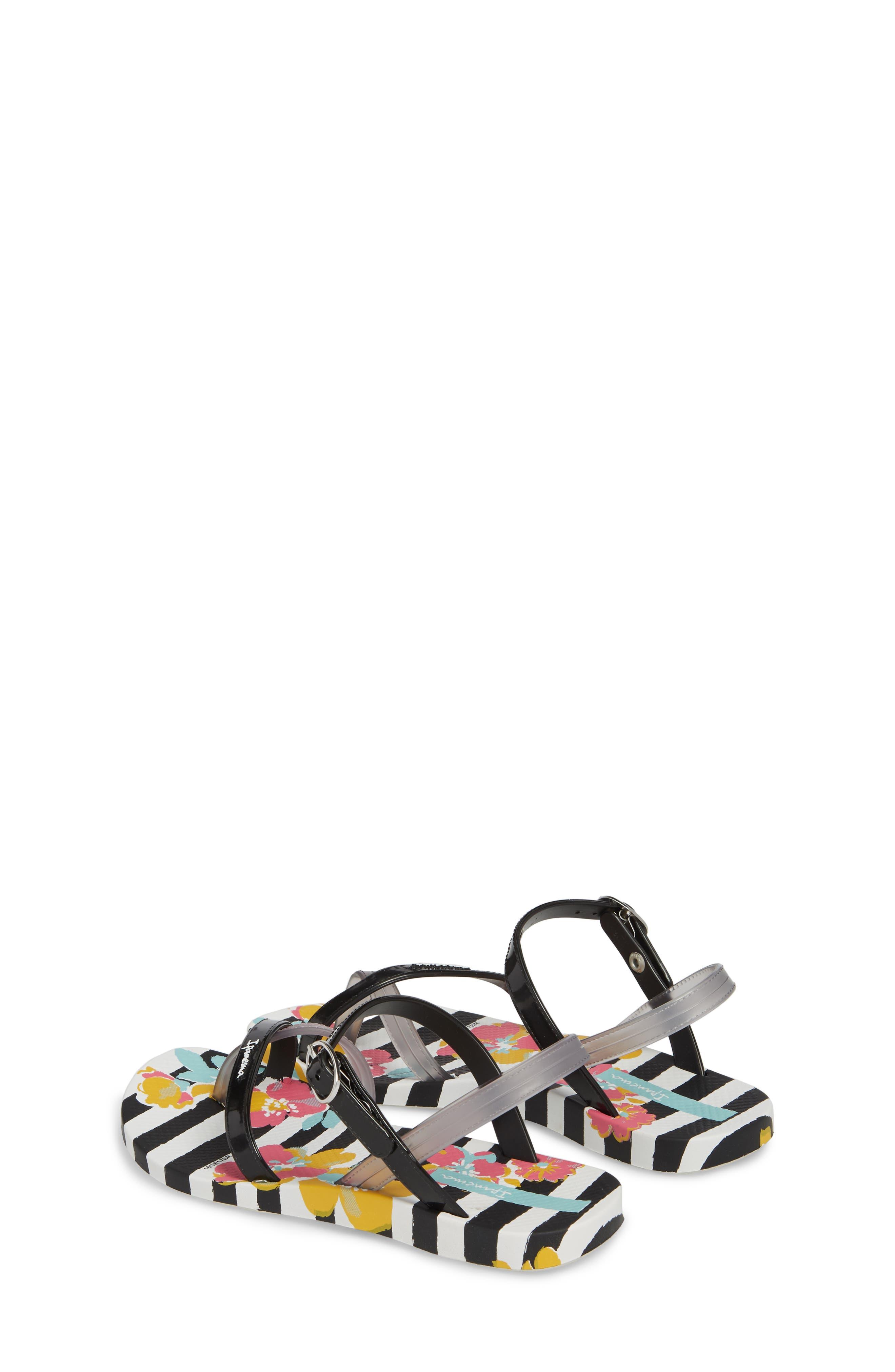 Toe Loop Sandal,                             Alternate thumbnail 2, color,                             White/ Black