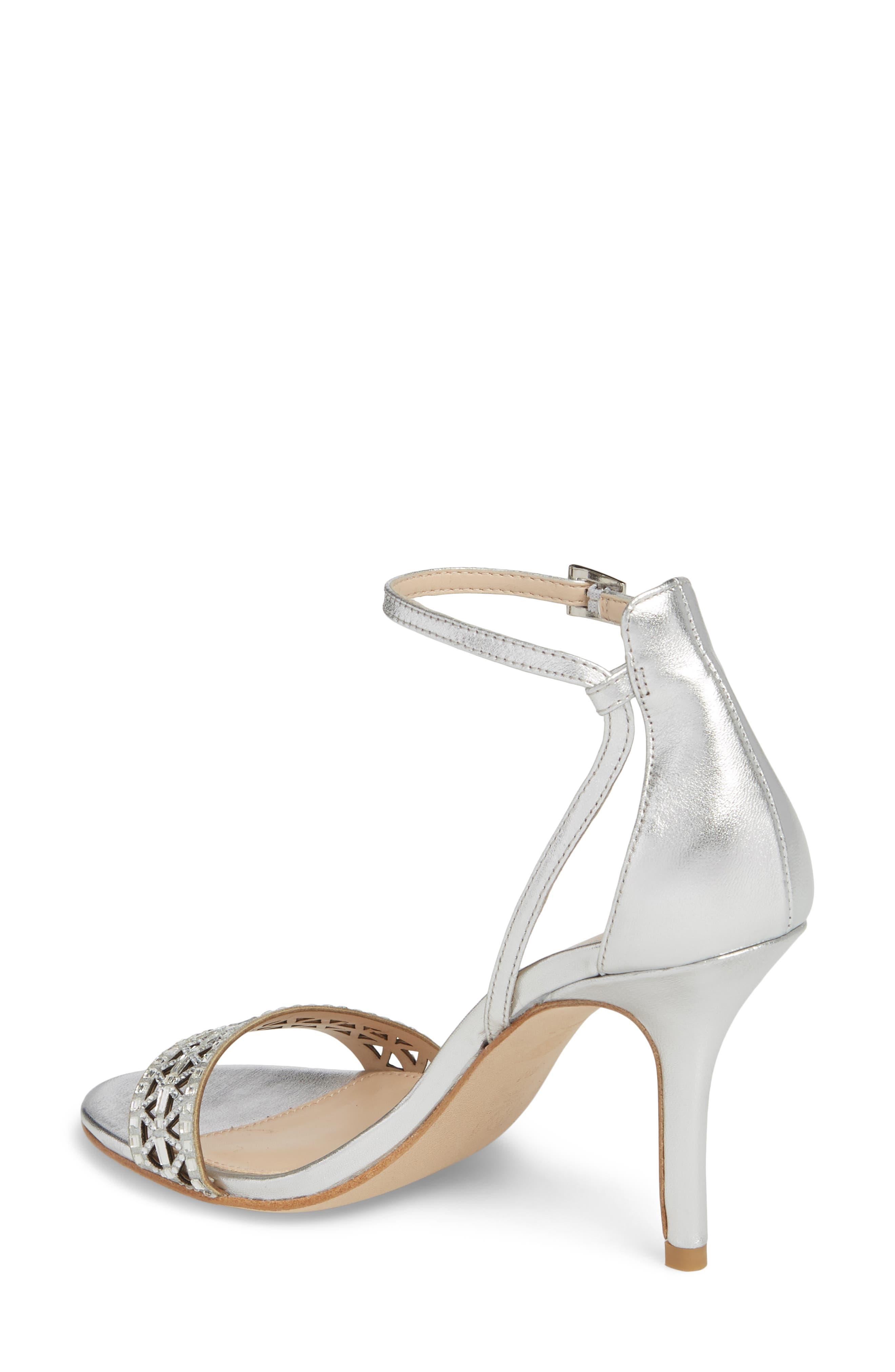 Karmina Embellished Sandal,                             Alternate thumbnail 2, color,                             Silver Leather