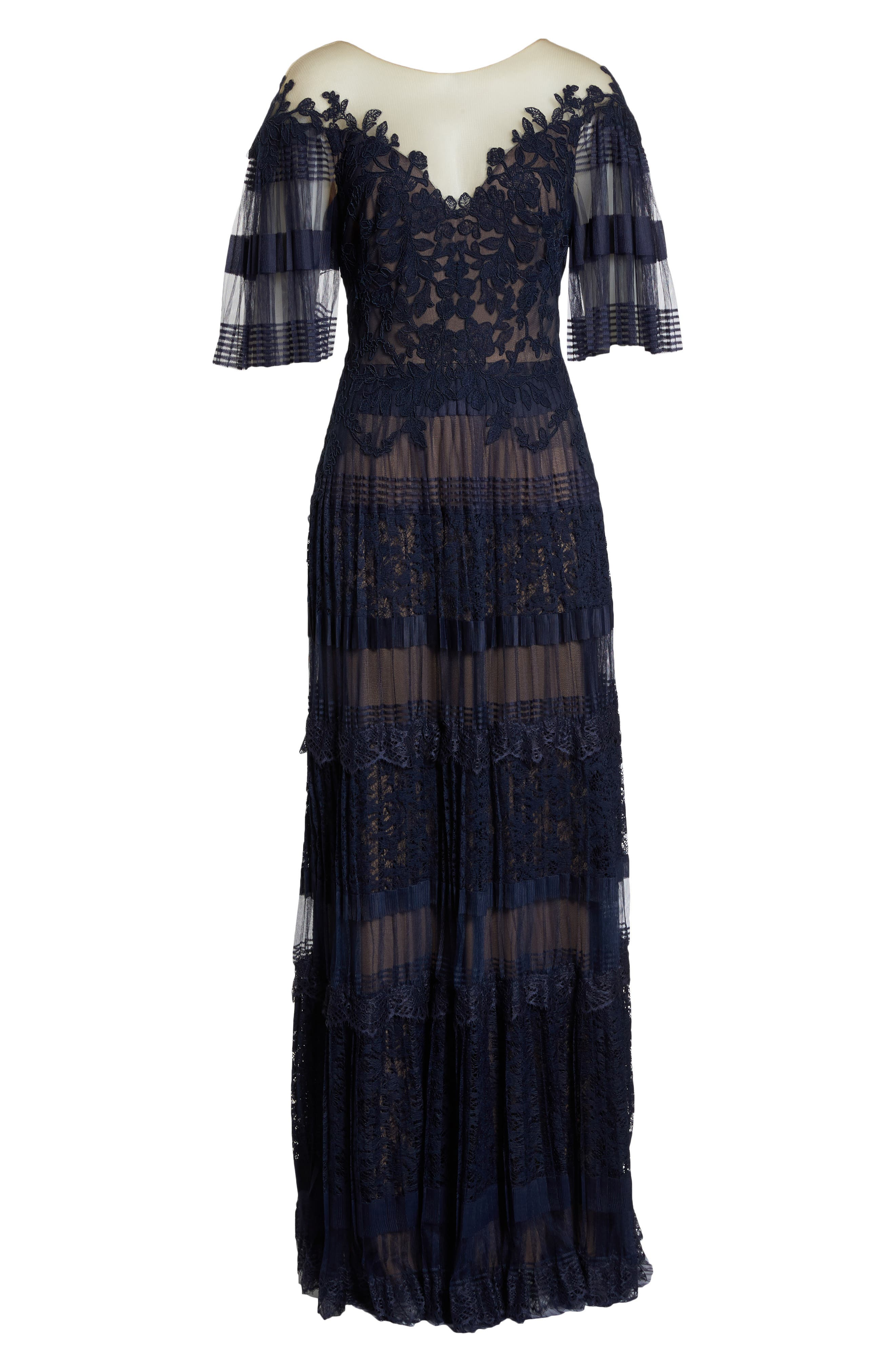 Illusion V-Neck Lace Gown,                             Alternate thumbnail 6, color,                             Navy/ Nude