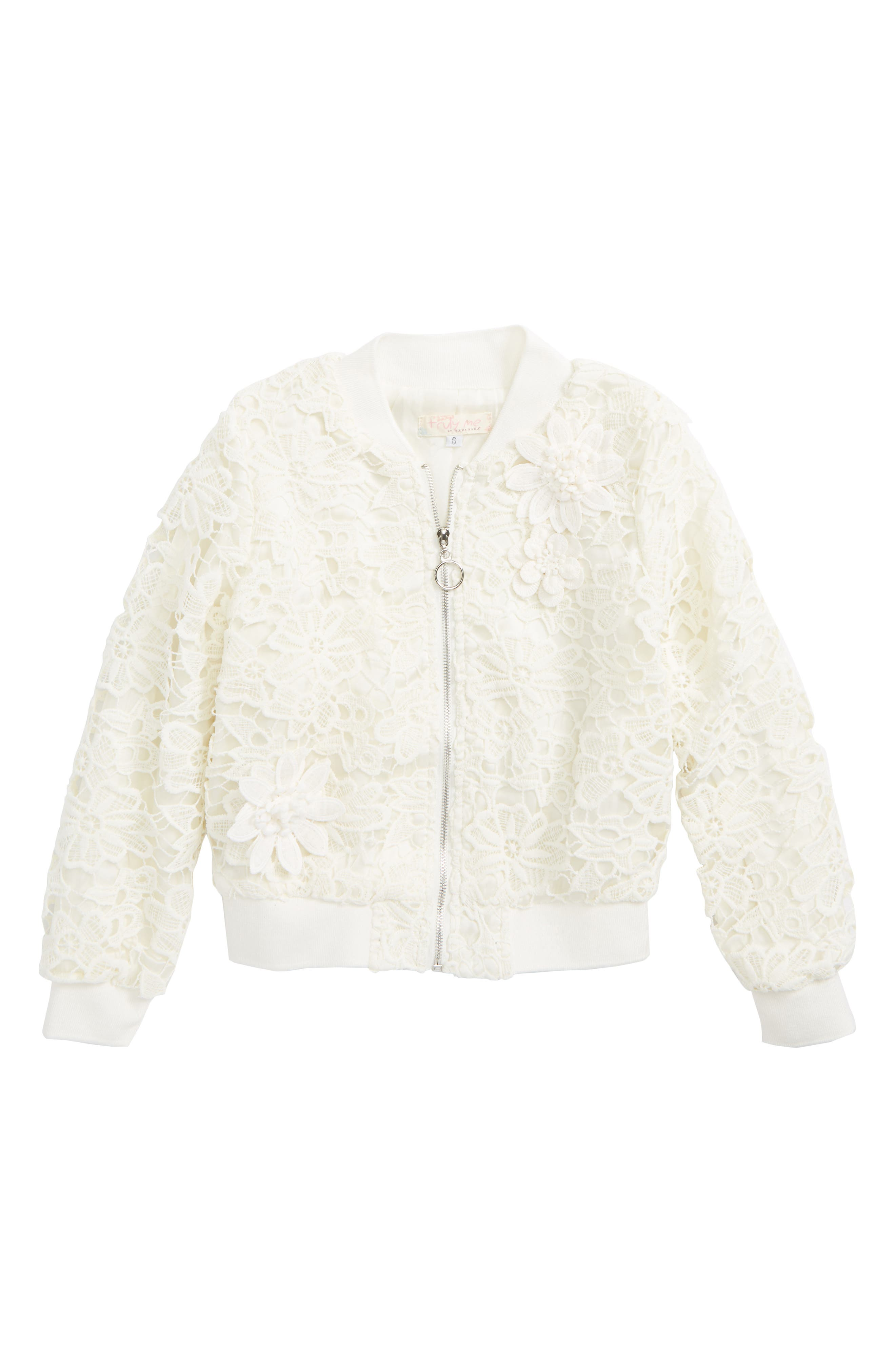 Lace Bomber Jacket,                             Main thumbnail 1, color,                             Cream