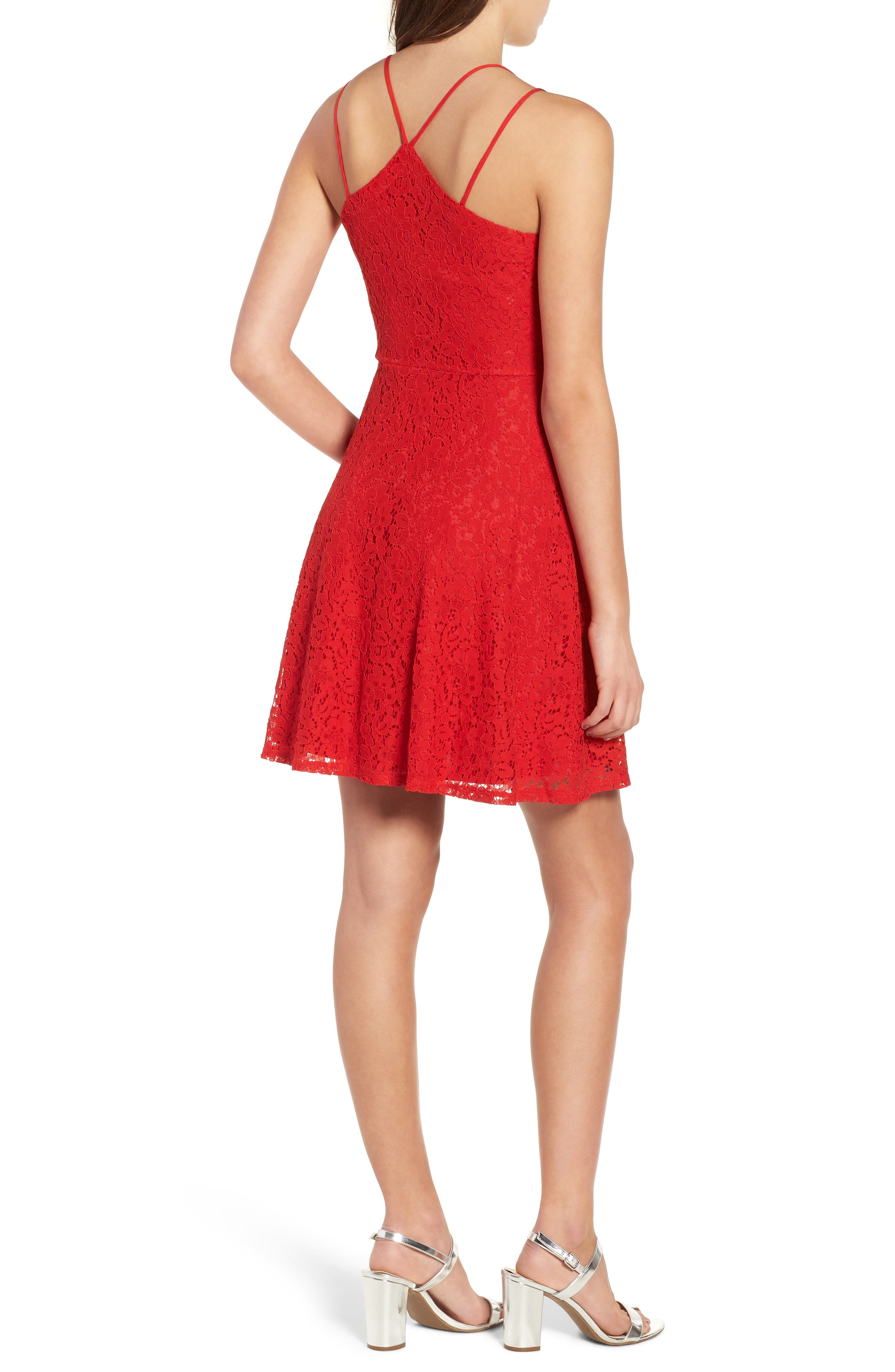 Strappy Lace Fit & Flare Dress,                             Alternate thumbnail 2, color,                             Tomato