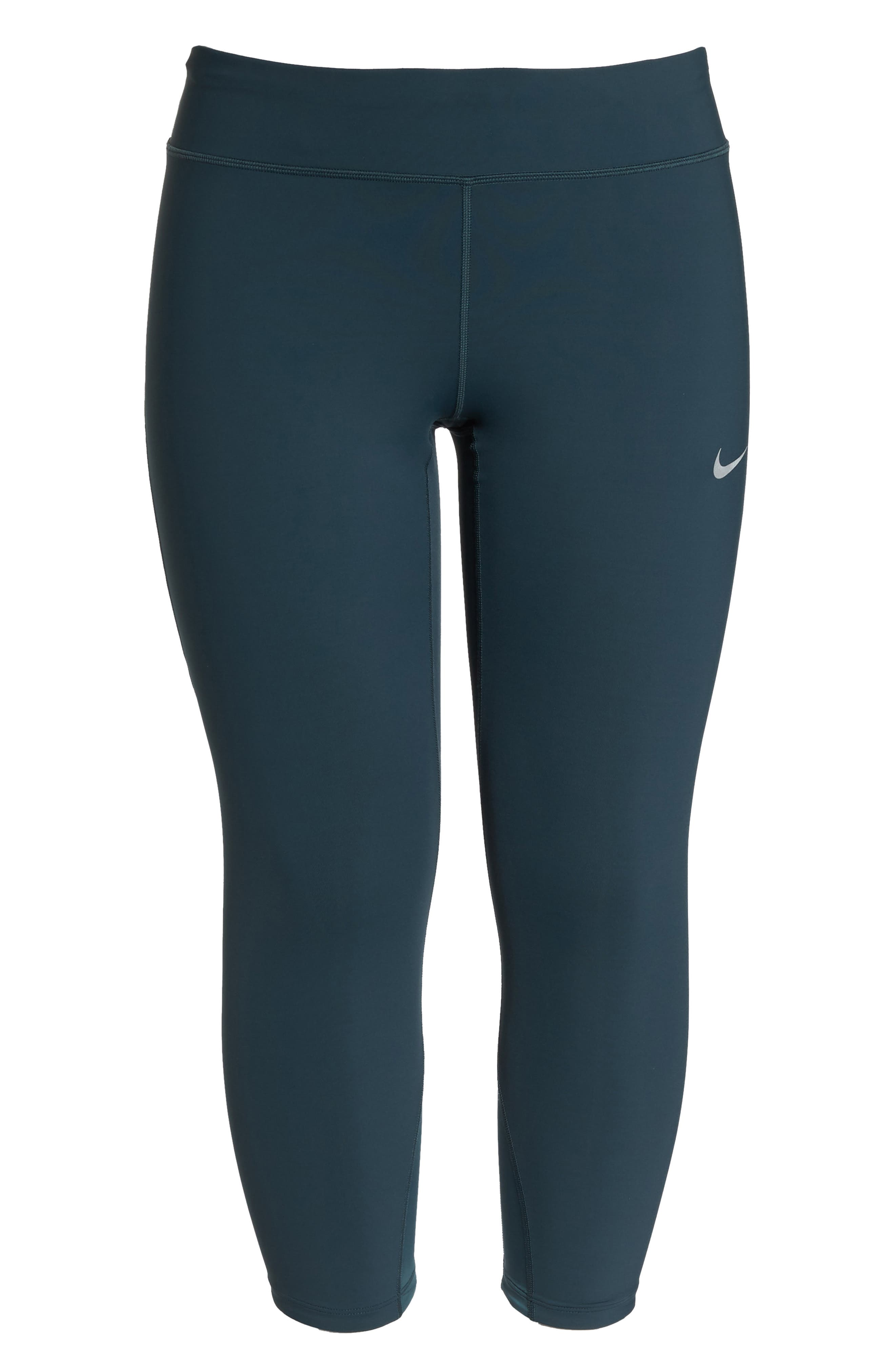 Power Epic Lux Crop Running Tights,                             Alternate thumbnail 3, color,                             Deep Jungle