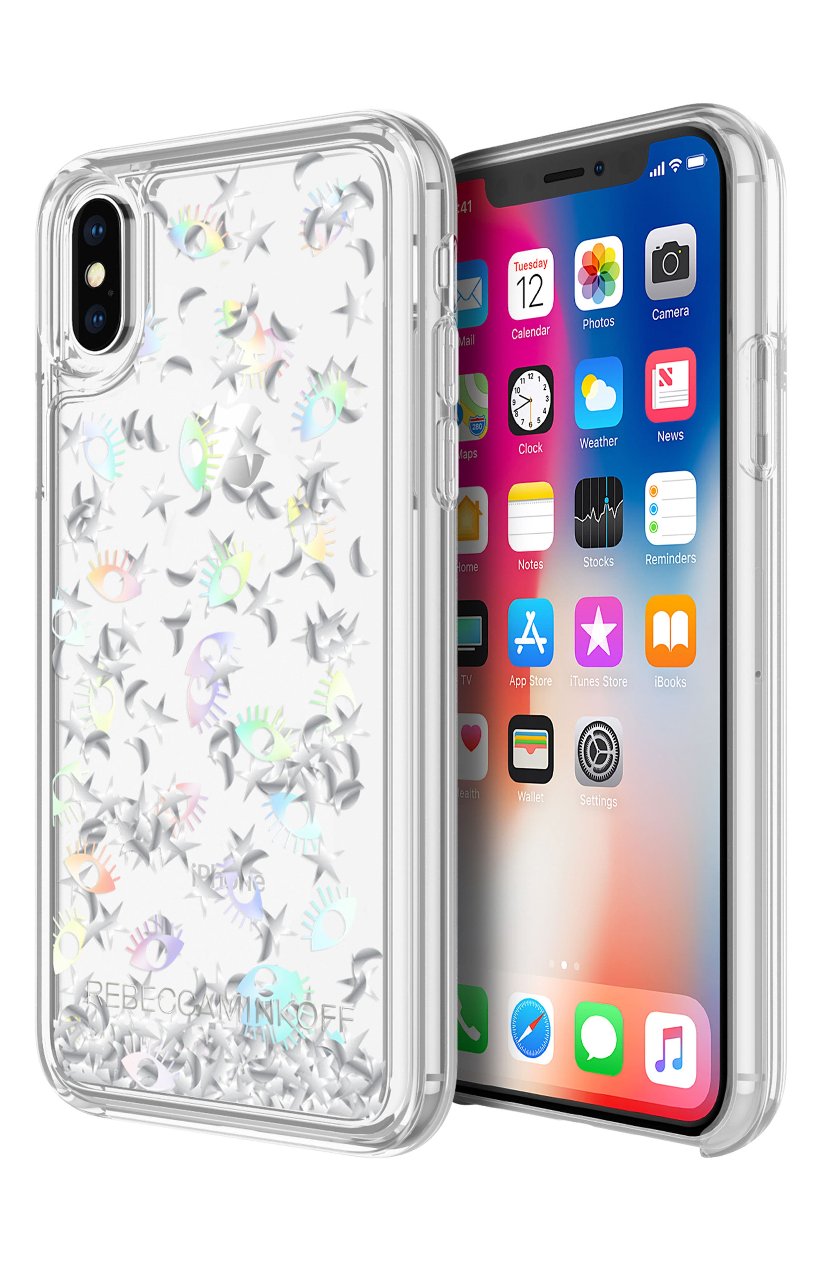 Galaxy Icon Glitterfall iPhone X Case,                             Alternate thumbnail 2, color,                             Holographic/ Clear