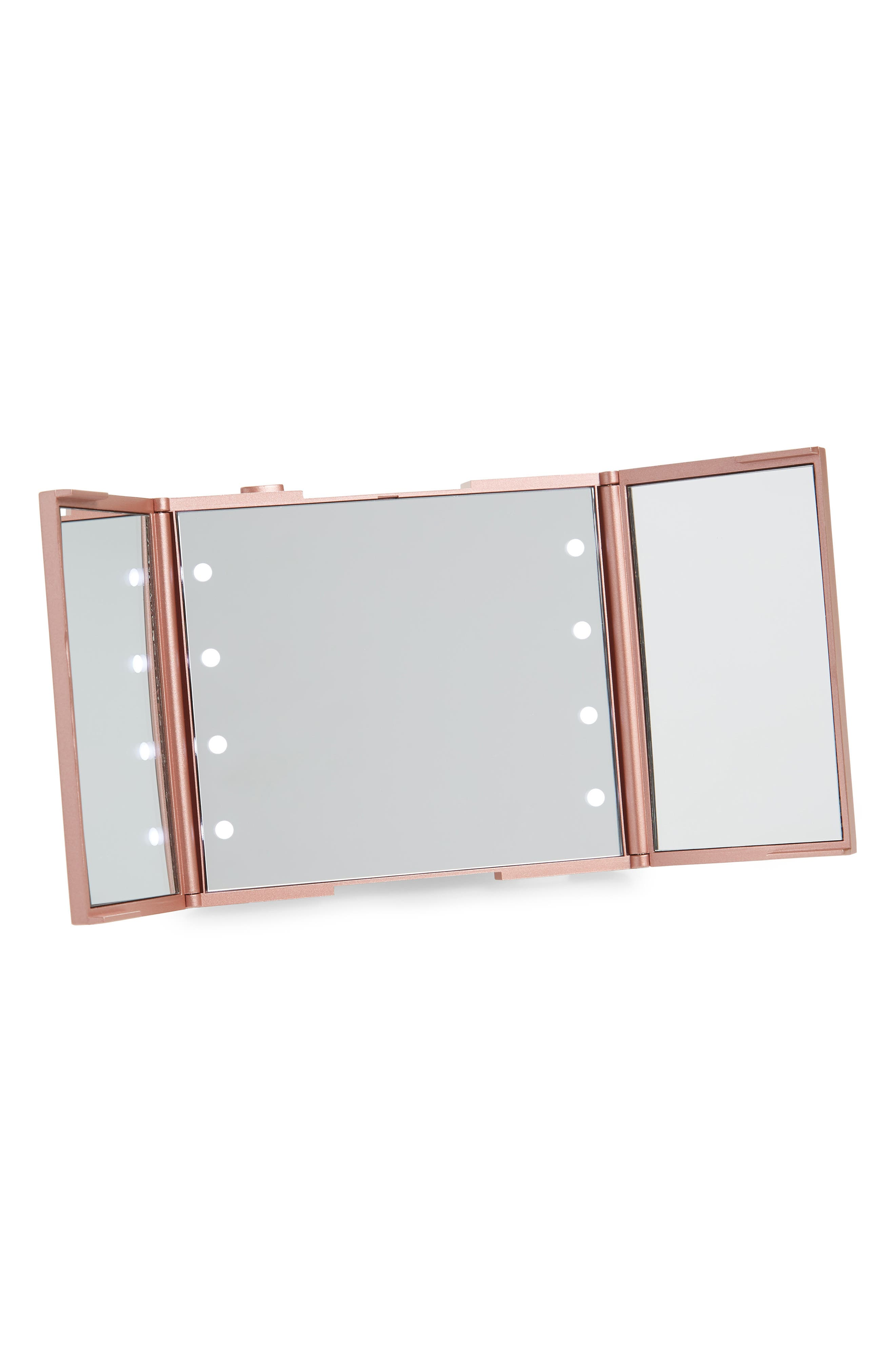 Trifold Compact LED Makeup Mirror with Stand,                         Main,                         color, Rose Gold