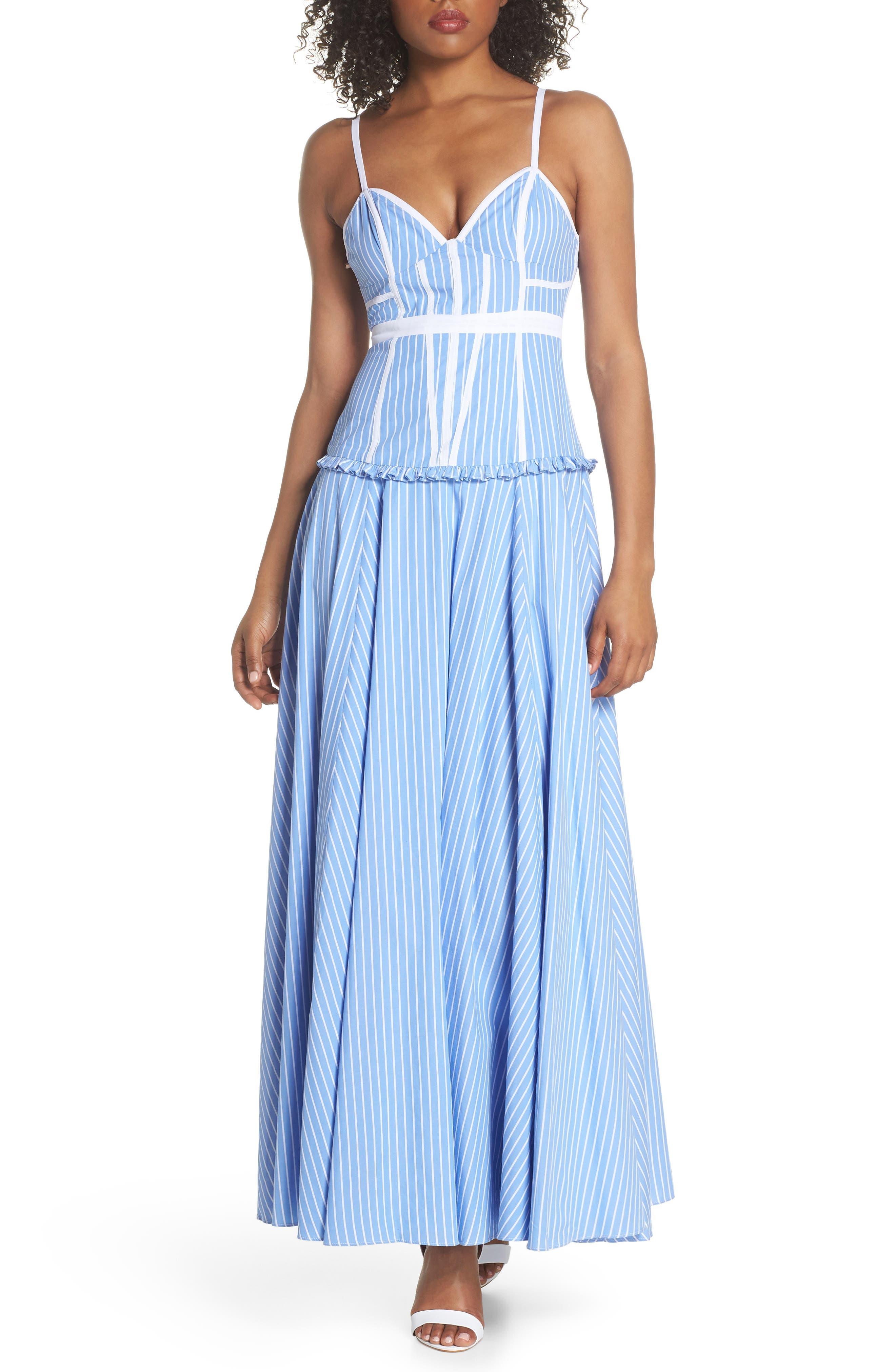 Morrow Stripe Corset Gown,                             Main thumbnail 1, color,                             Pale Blue/ White Stripe