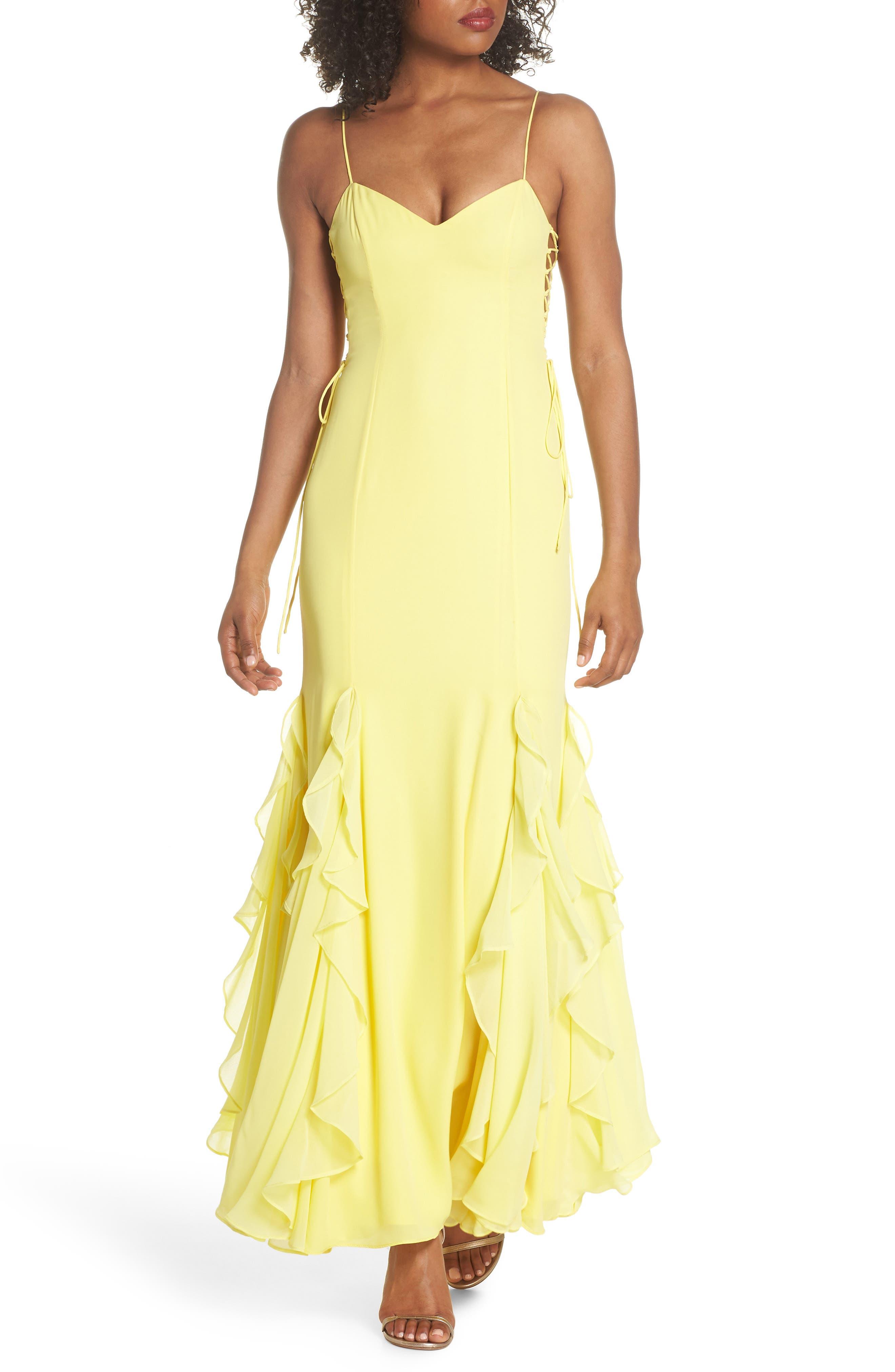 Lara Lace-Up Georgette Gown,                             Main thumbnail 1, color,                             Lemon