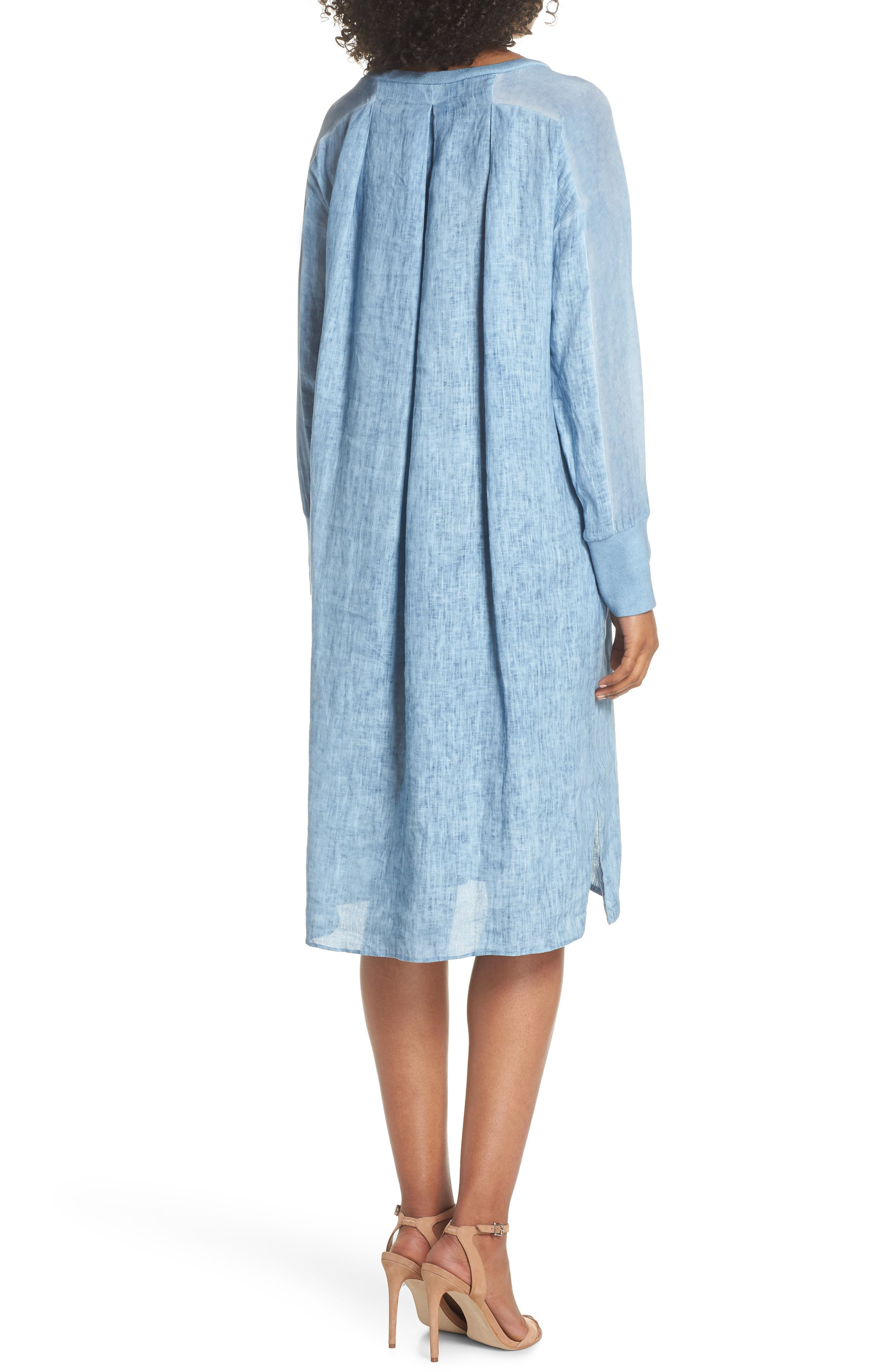 Rata Linen Shift Dress,                             Alternate thumbnail 2, color,                             Blue