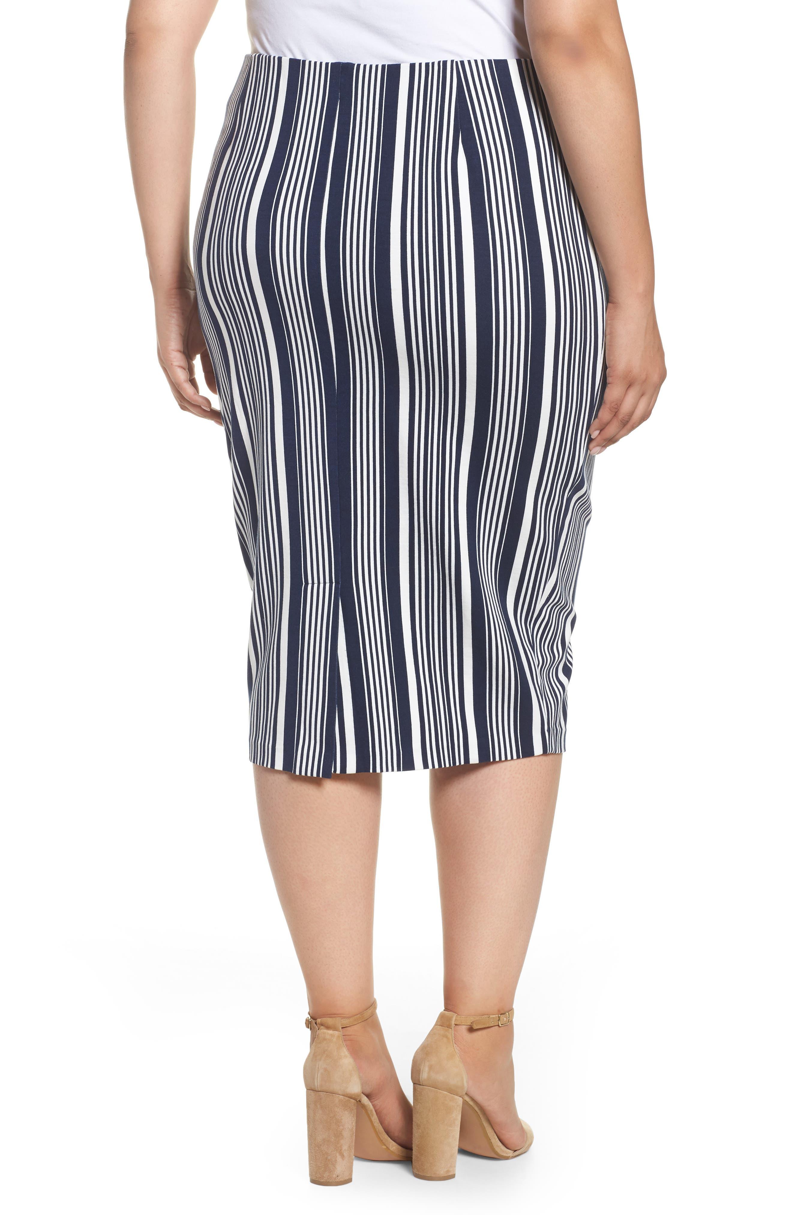 Stripe Ponte Pencil Skirt,                             Alternate thumbnail 2, color,                             Navy Alexis Stripe