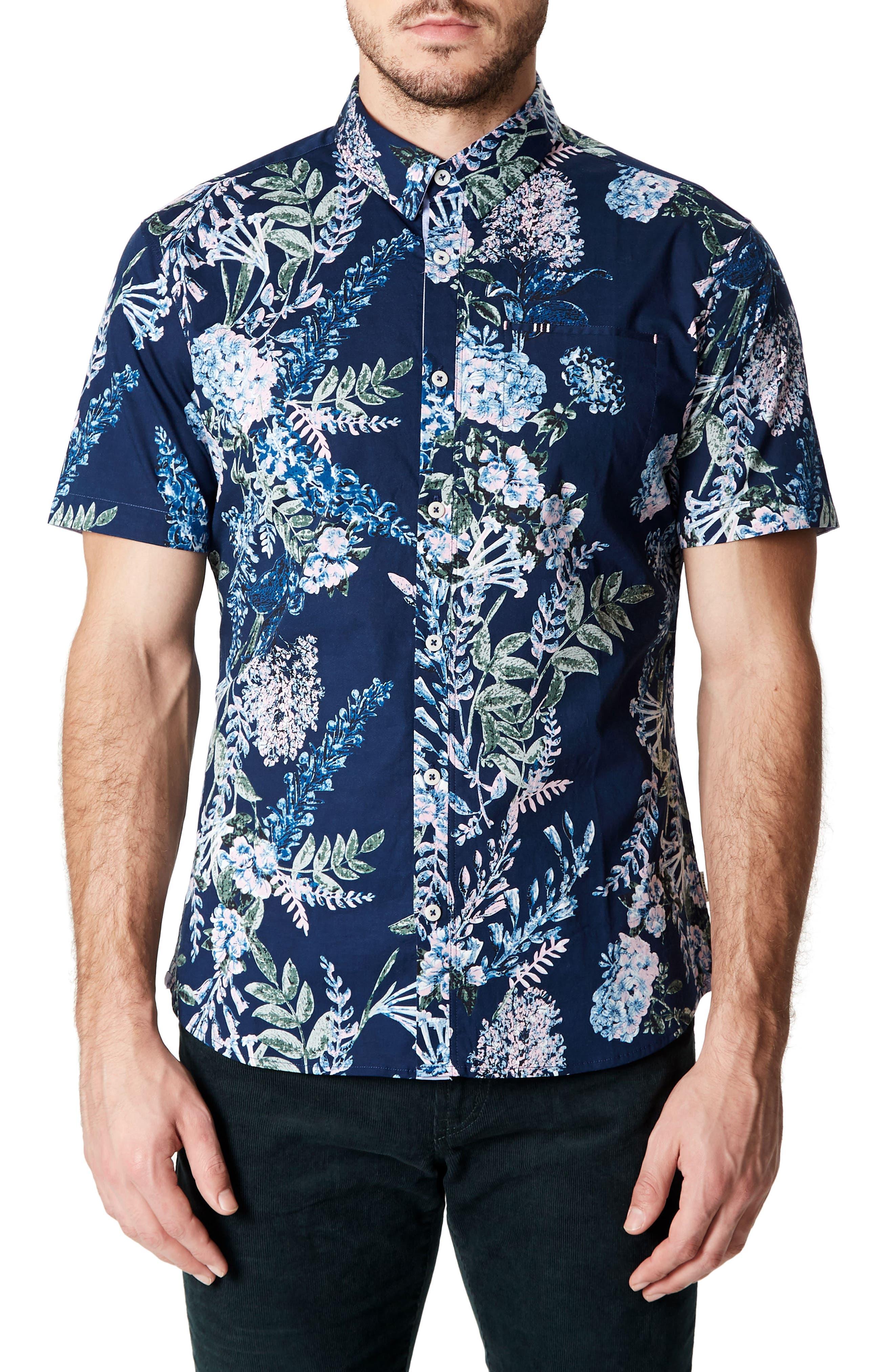 Conversation Peace Floral Sport Shirt,                         Main,                         color, Mint