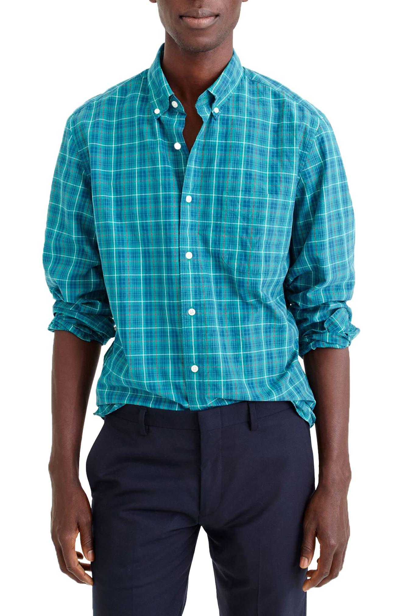 Slim Fit Stretch Secret Wash Plaid Sport Shirt,                         Main,                         color, Deep Patina