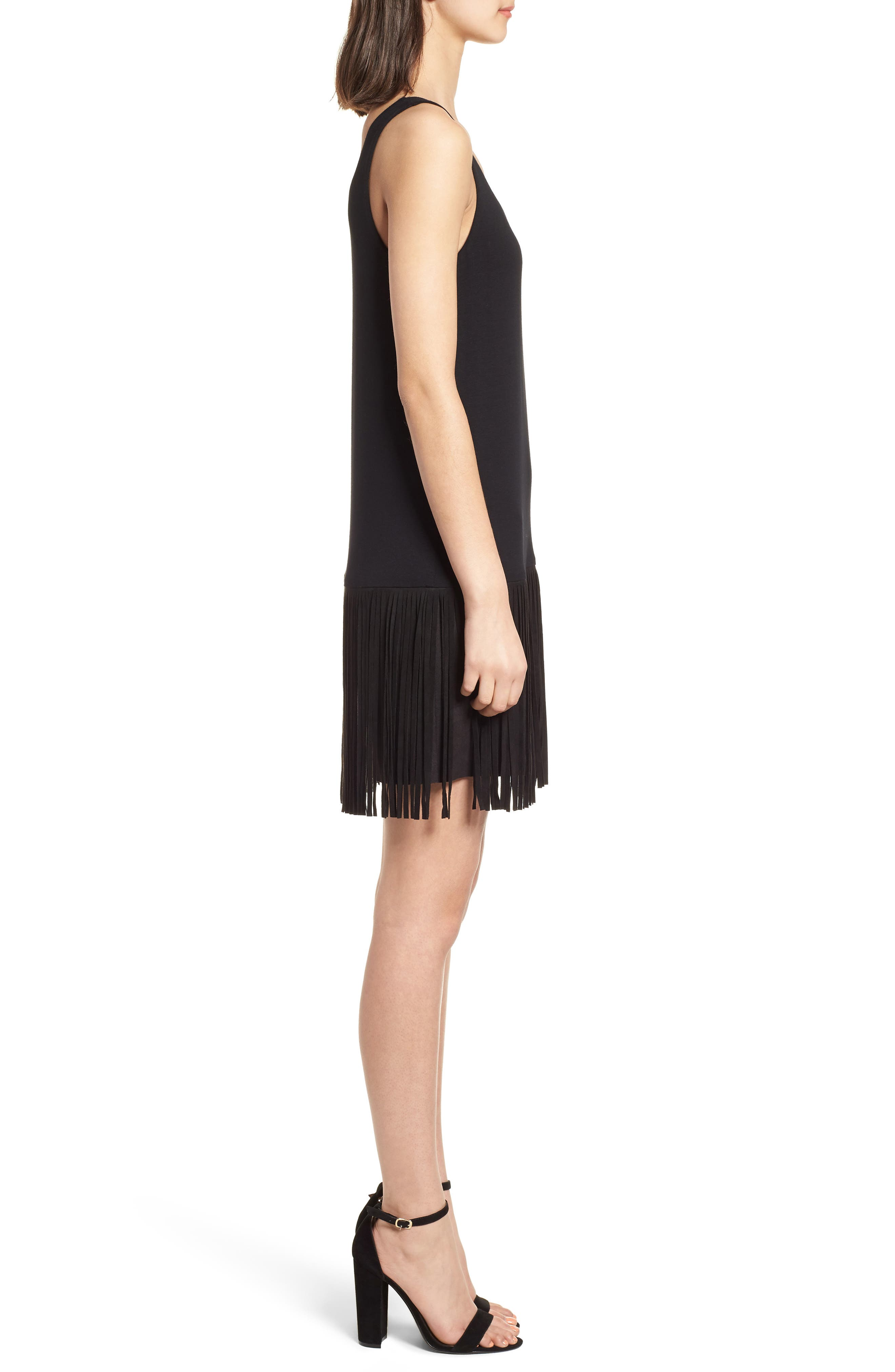 Dead or Alive Fringe Tank Dress,                             Alternate thumbnail 3, color,                             Black